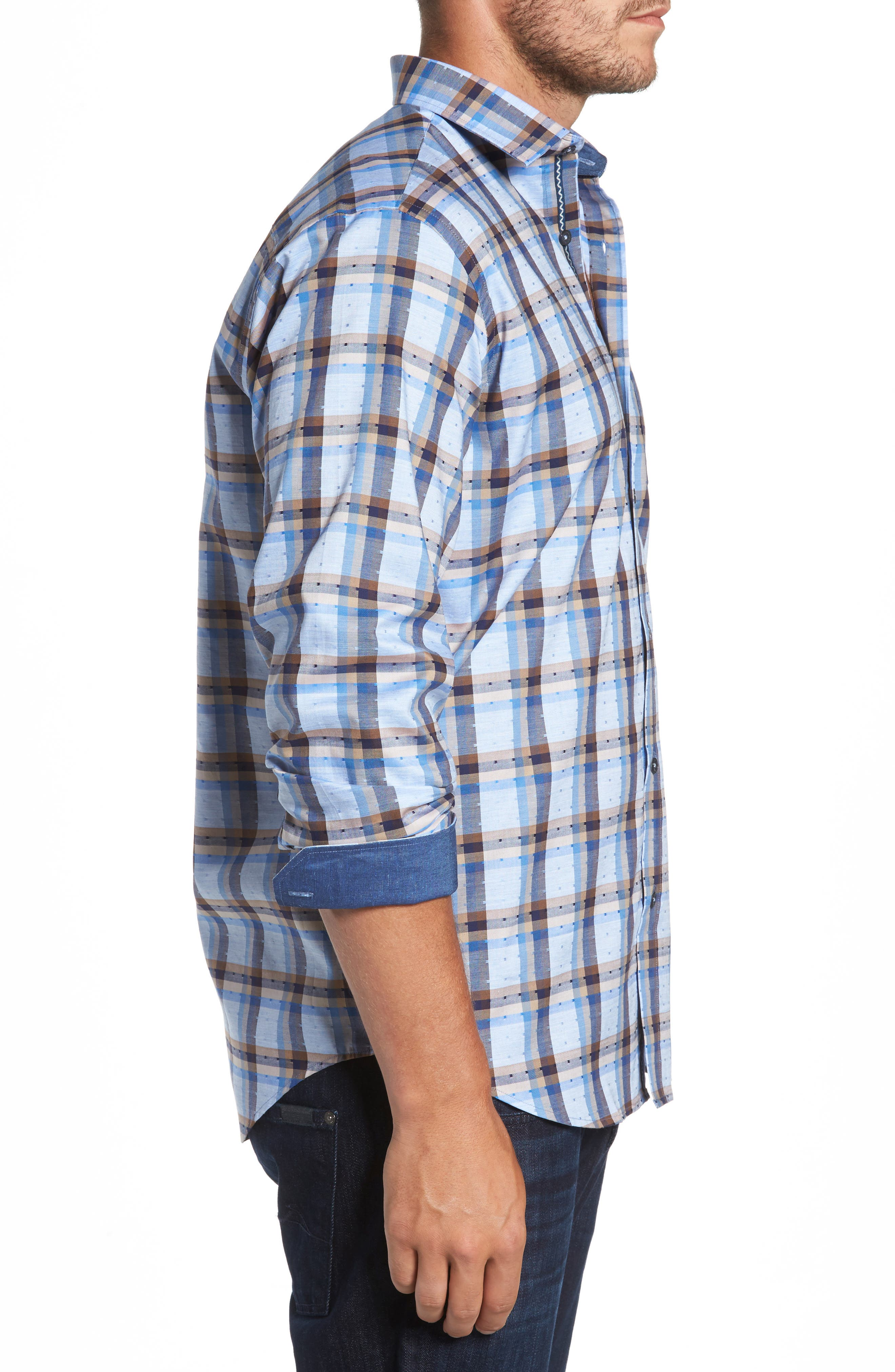 Classic Fit Dobby Check Sport Shirt,                             Alternate thumbnail 3, color,                             459