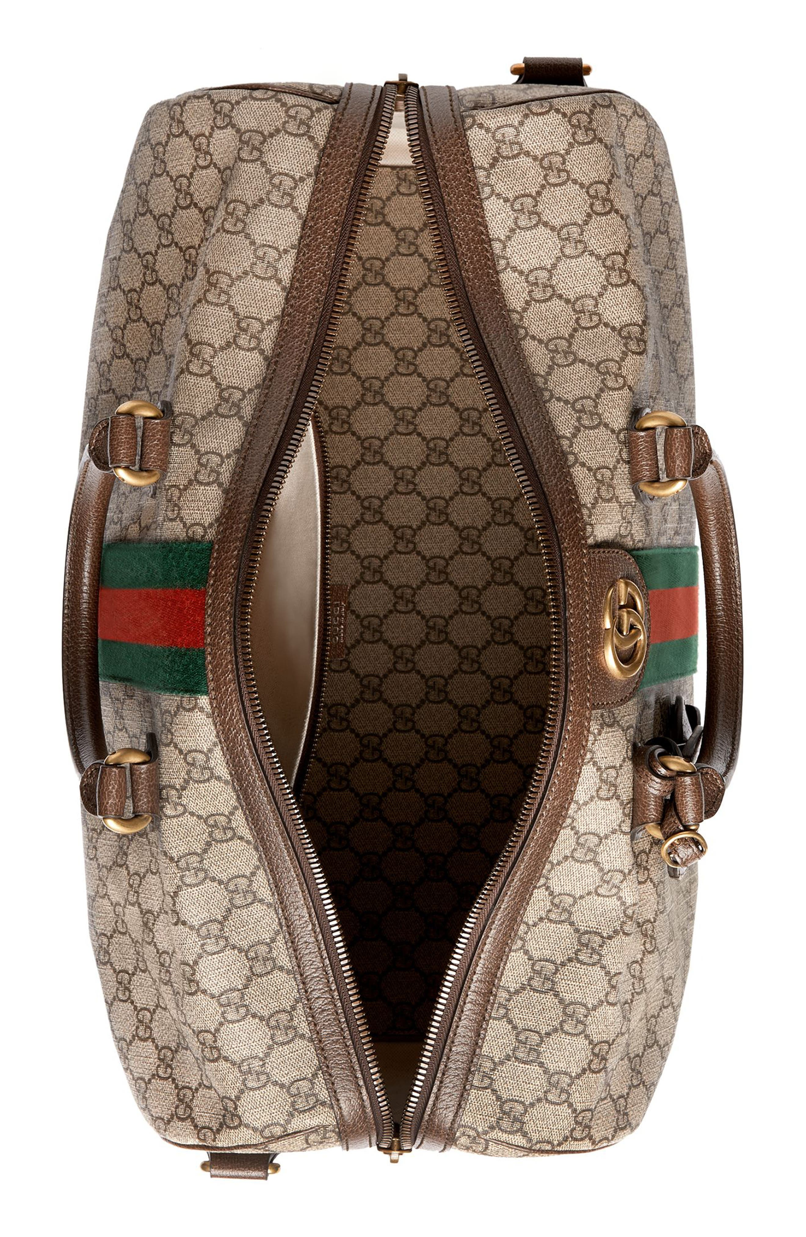GUCCI,                             Medium Ophidia GG Supreme Carry-On Duffel,                             Alternate thumbnail 2, color,                             BEIGE EBONY/ NEW ACERO