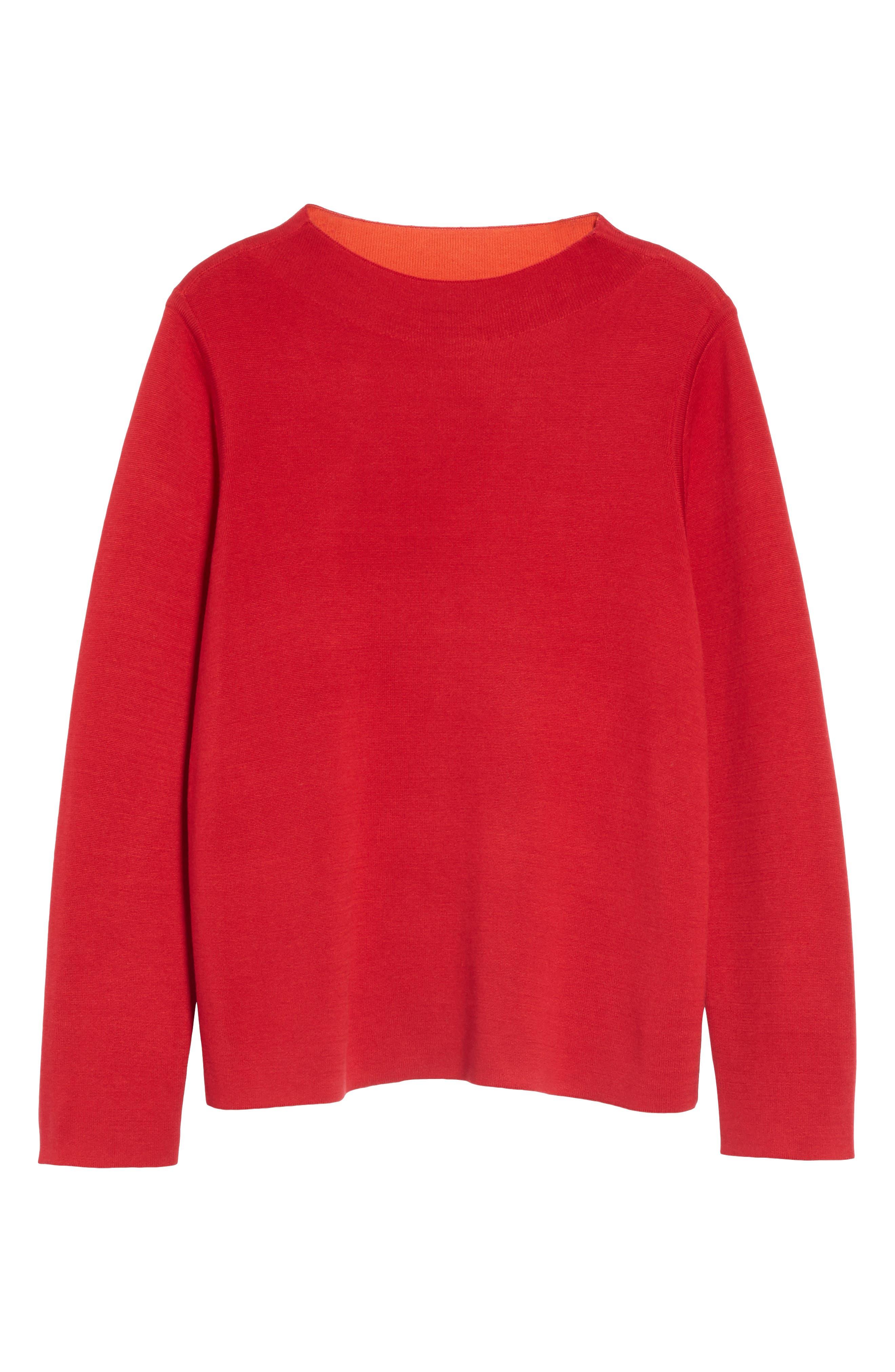 EILEEN FISHER, Reversilble Silk Blend Sweater, Alternate thumbnail 7, color, LACQUER