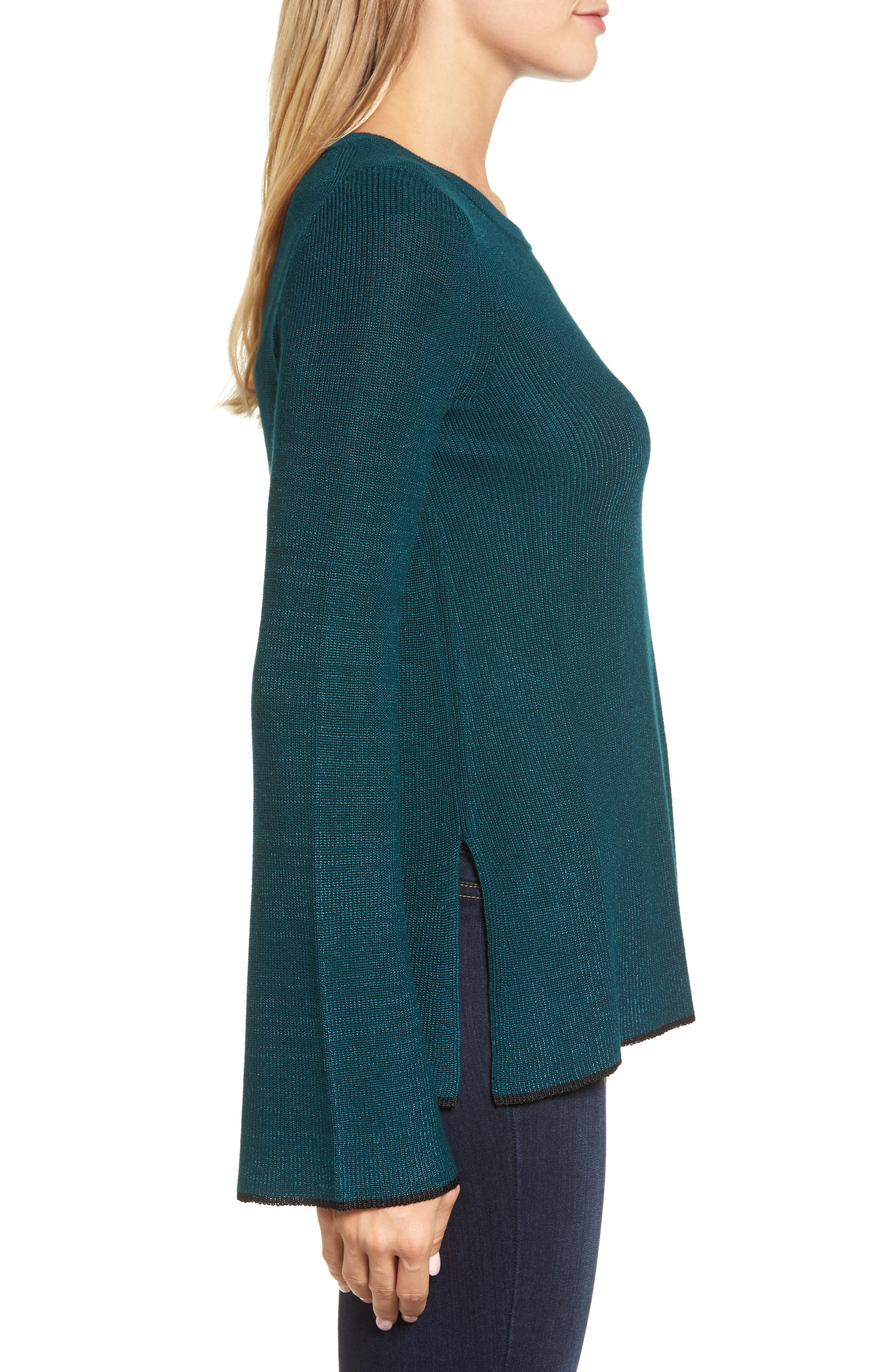 Tipped Bell Sleeve Sweater,                             Alternate thumbnail 19, color,