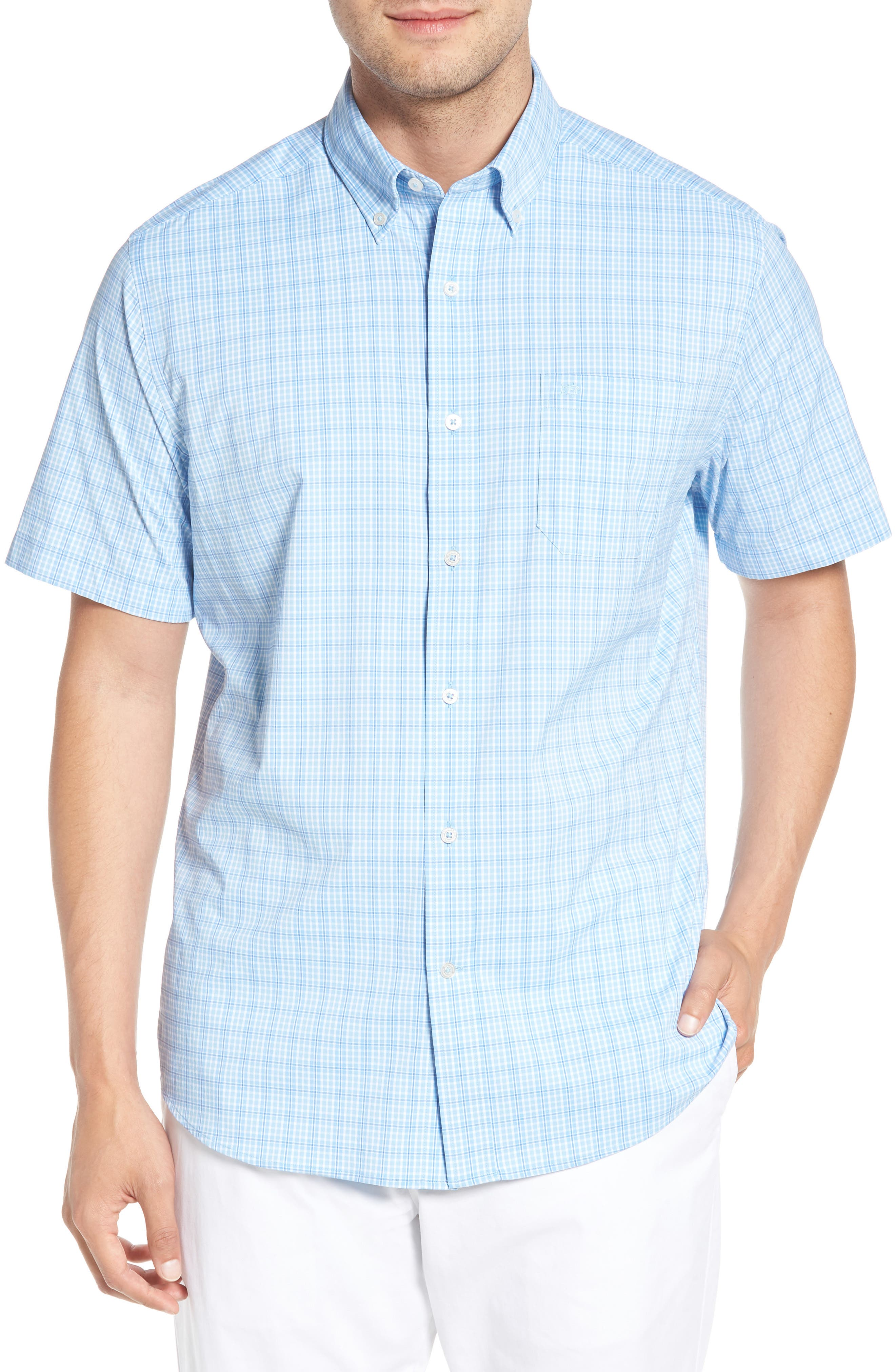 Nautical Mile Regular Fit Plaid Performance Sport Shirt,                             Main thumbnail 1, color,