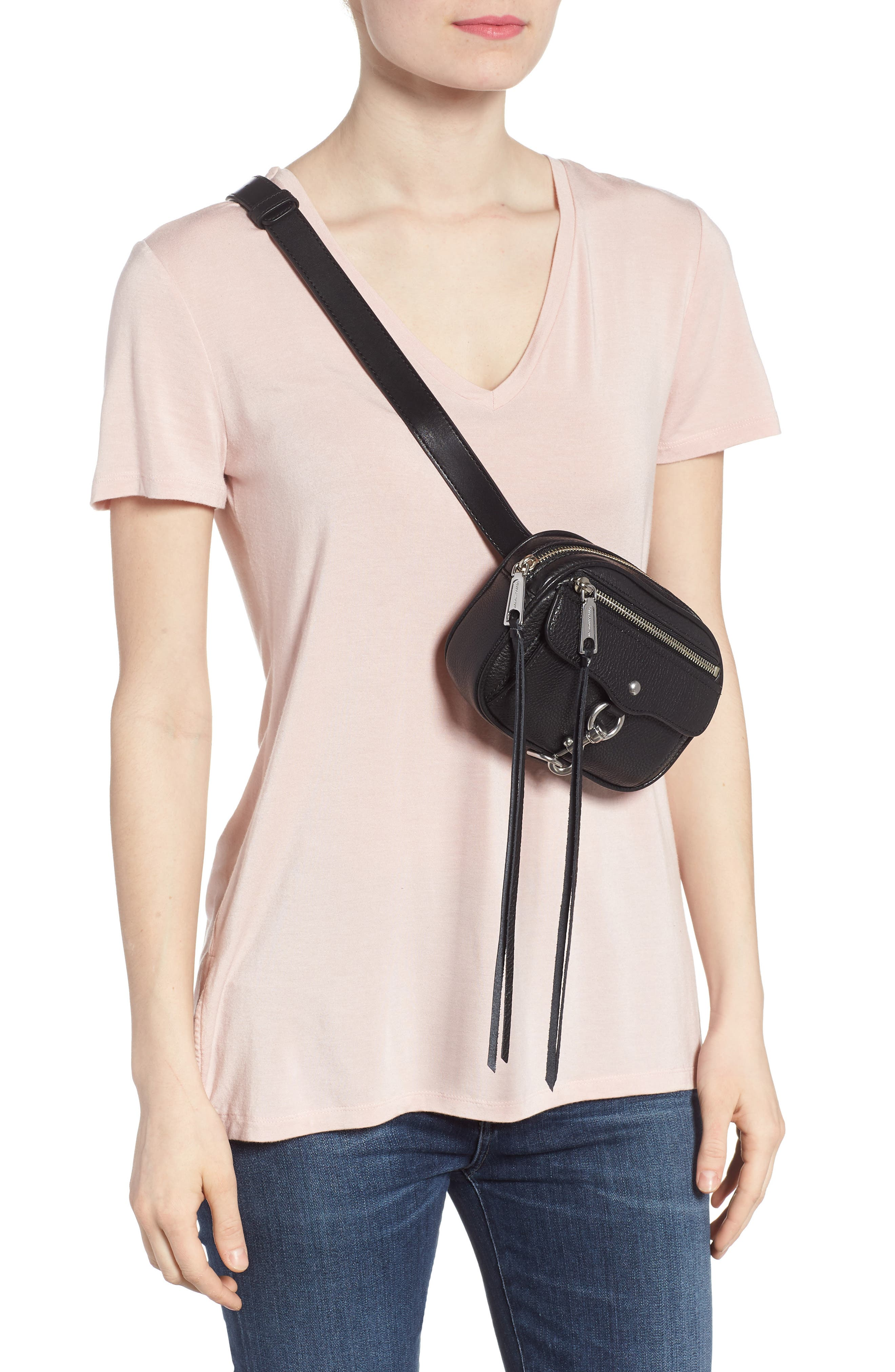 Blythe Leather Belt Bag,                             Alternate thumbnail 3, color,                             BLACK