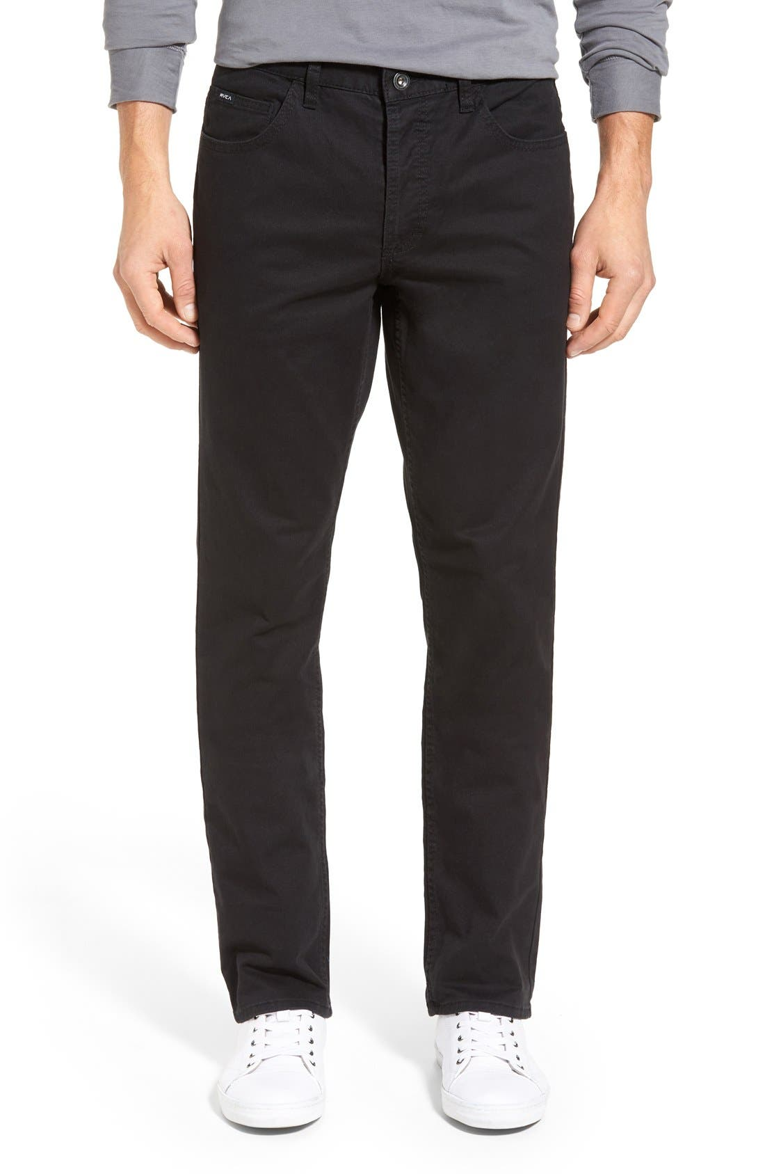 'Stay RVCA' Slim Straight Pants, Main, color, 001