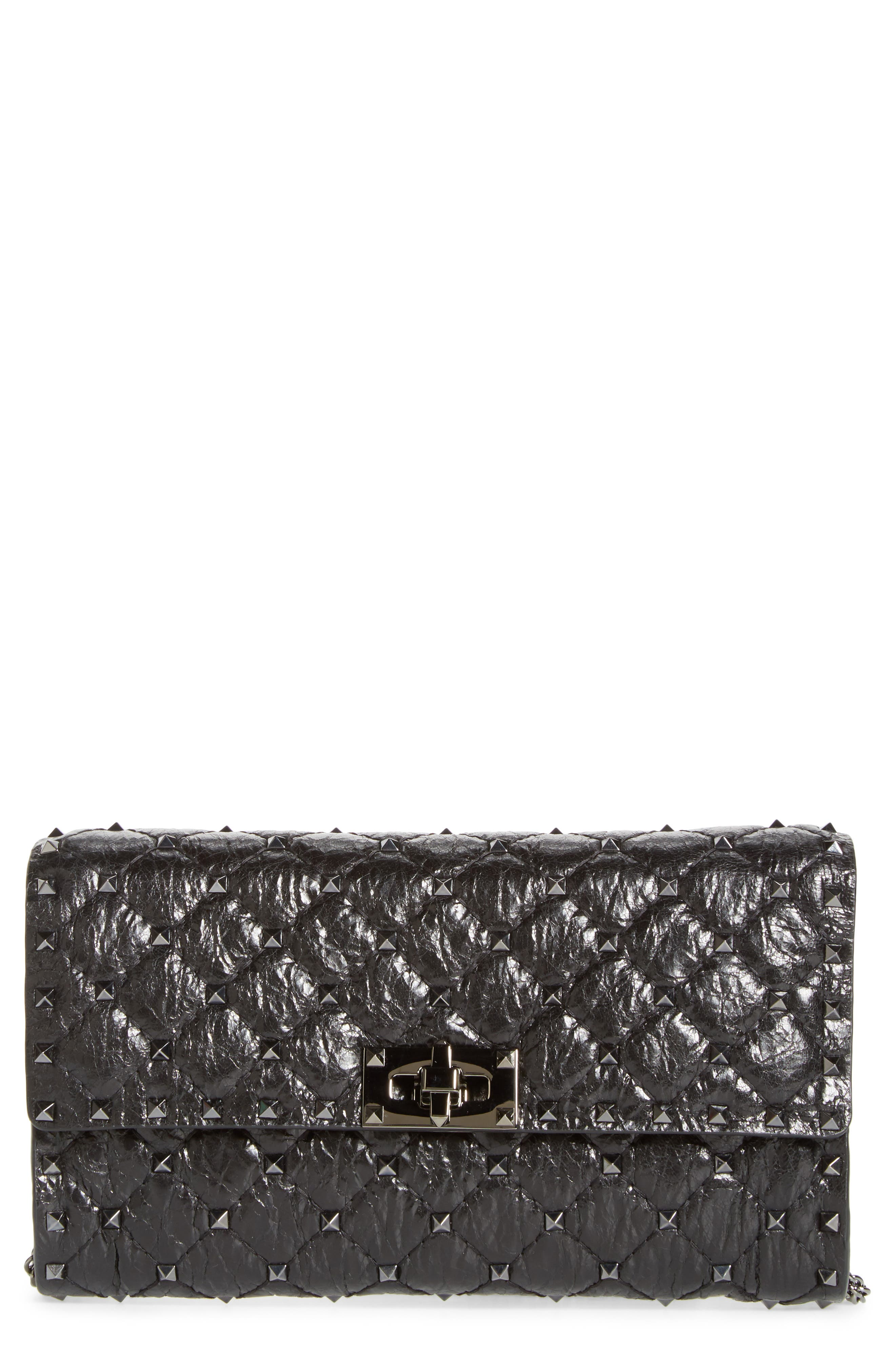 Matelassé Rockstud Spike Leather Wallet on a Chain,                             Main thumbnail 1, color,                             001