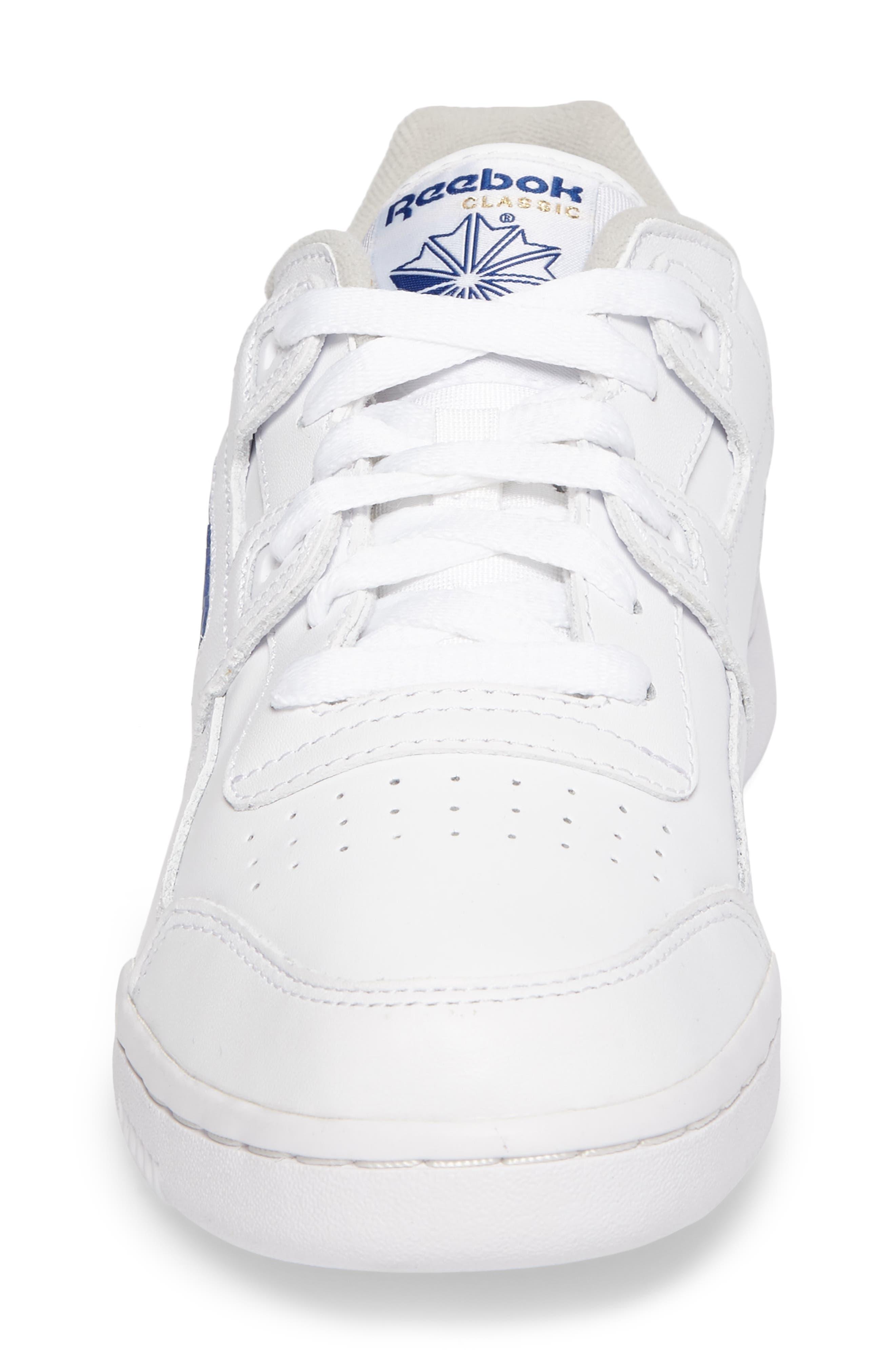 Workout Plus Sneaker,                             Alternate thumbnail 4, color,                             WHITE/ ROYAL