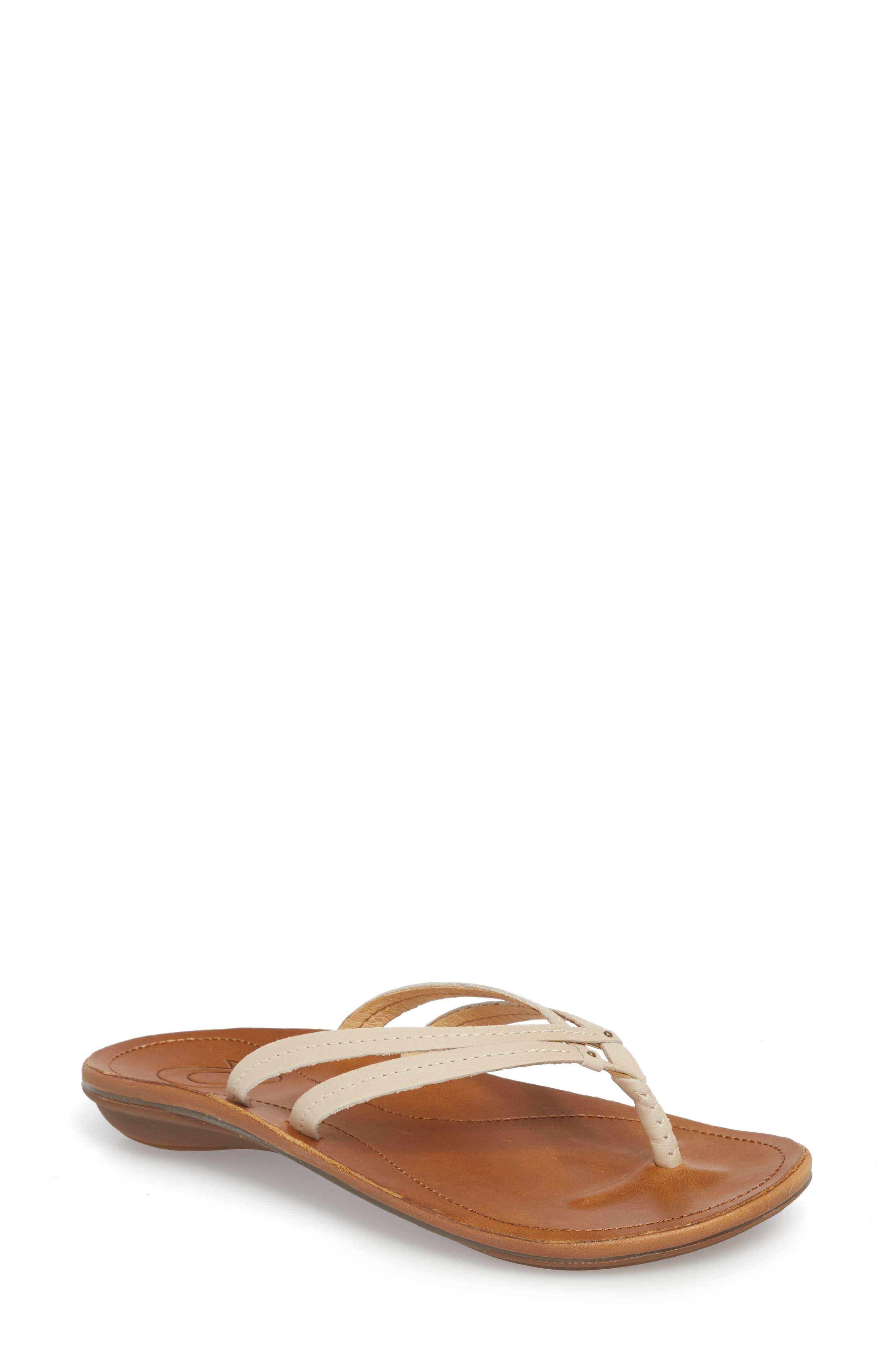'U'i' Thong Sandal,                         Main,                         color, TAPA/ SAHARA LEATHER