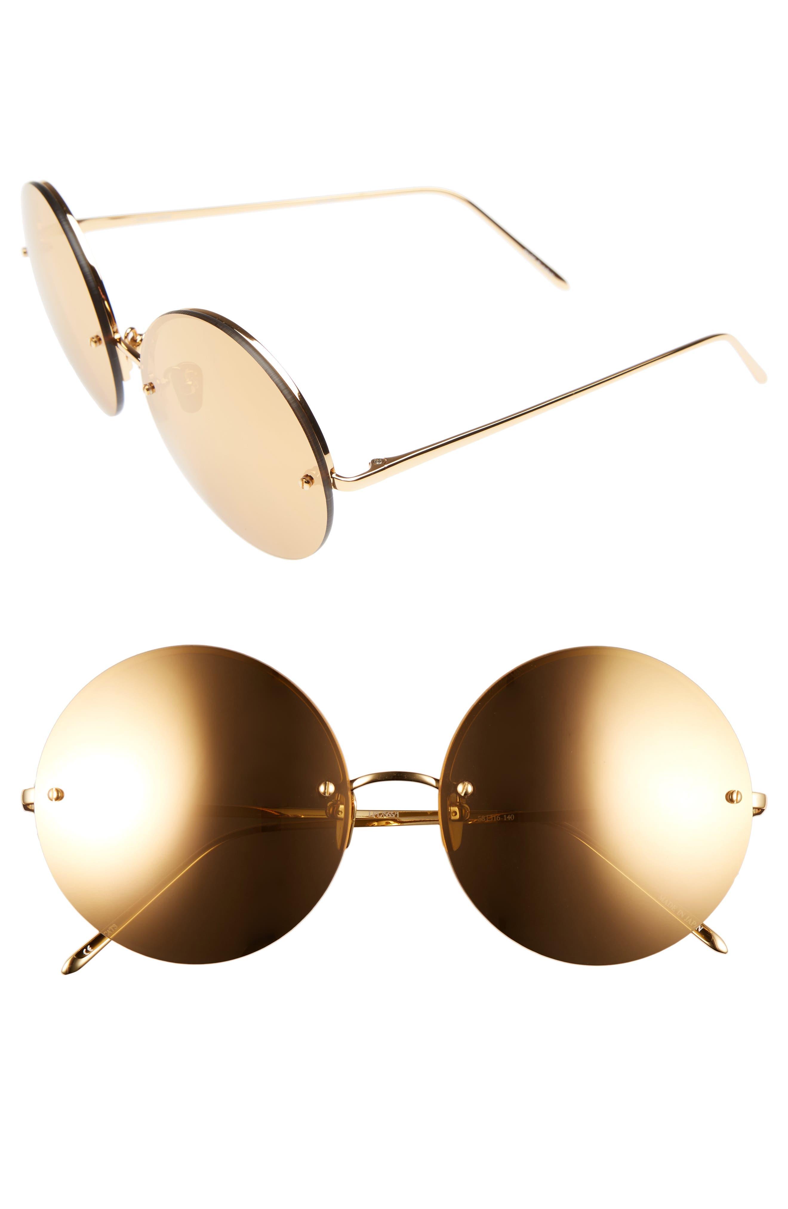 58mm 22 Karat Gold Trim Rimless Round Sunglasses,                         Main,                         color,