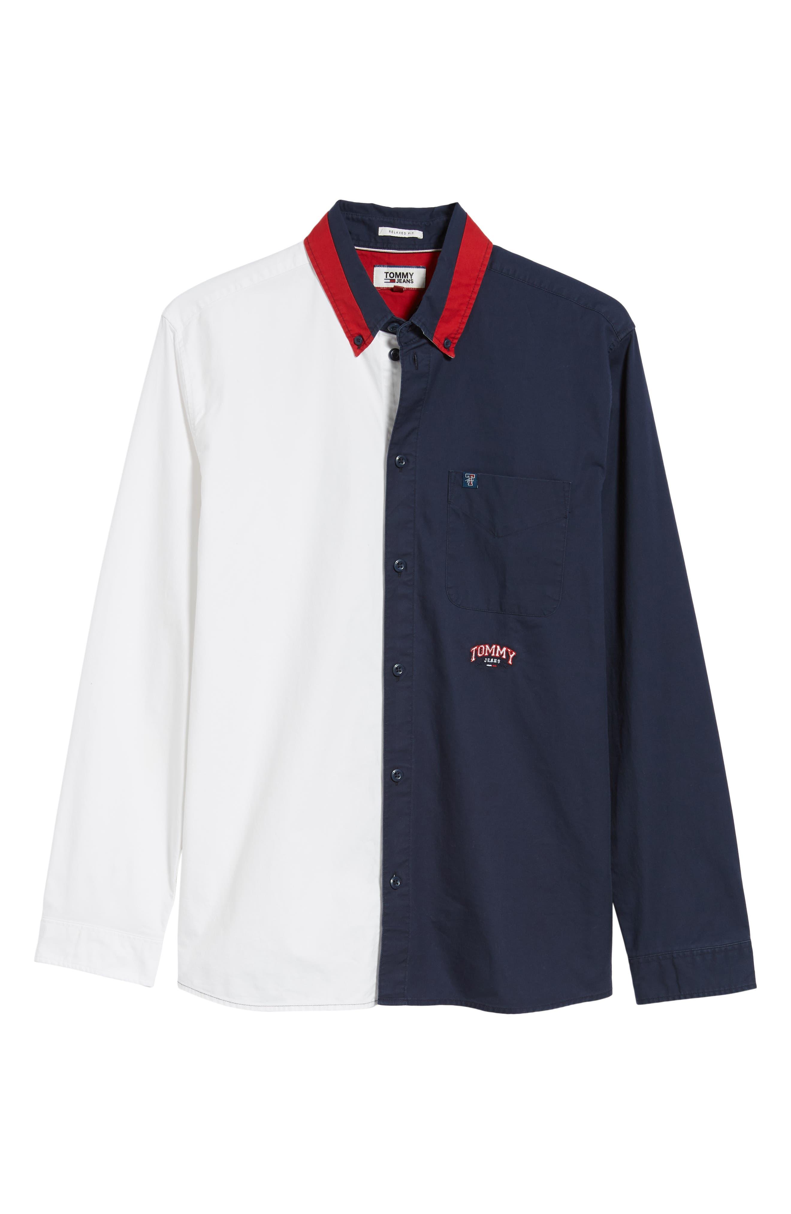 Half & Half Shirt,                             Alternate thumbnail 5, color,                             CLASSIC WHITE / BLACK IRIS