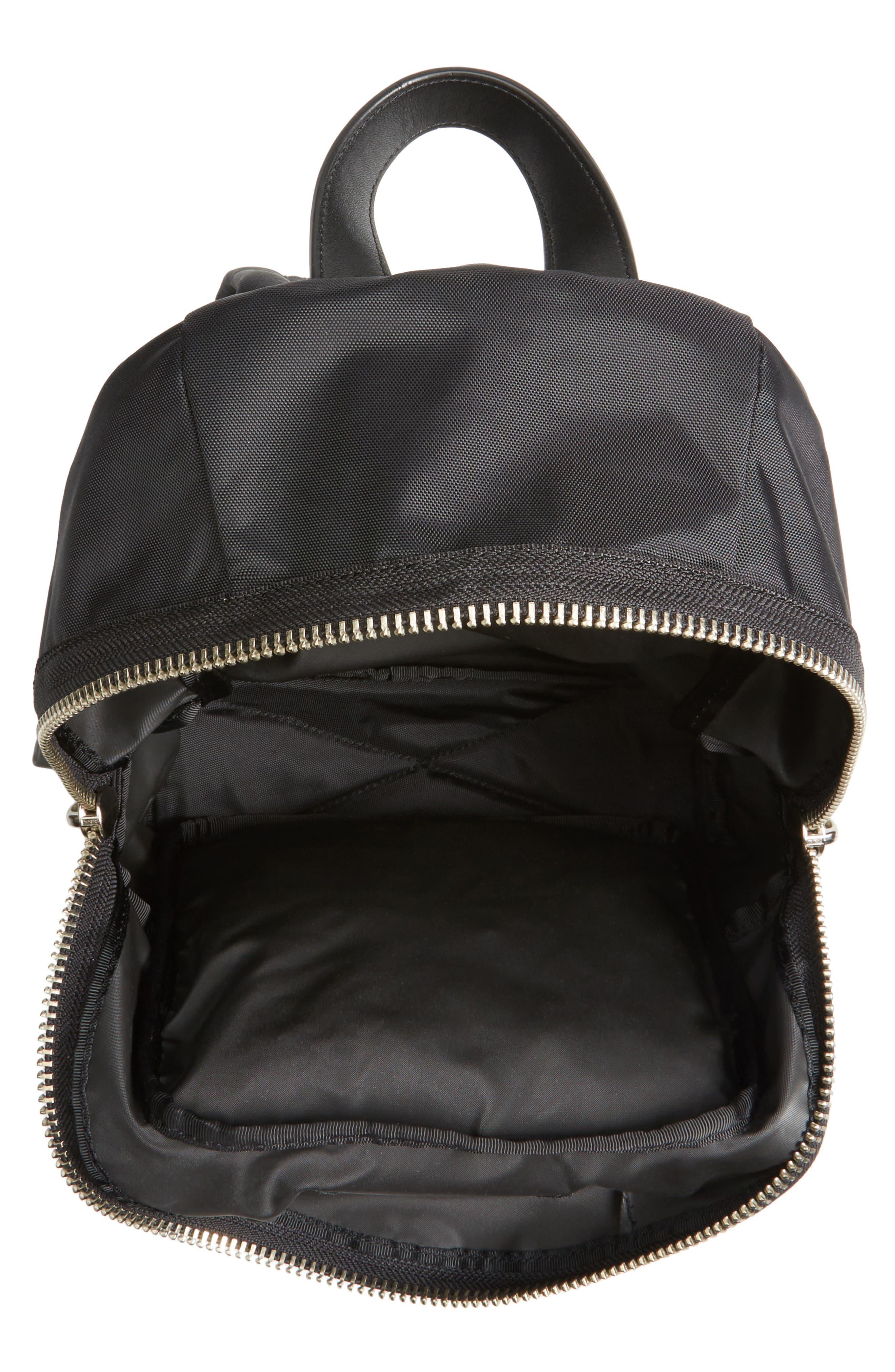 Mini Biker Nylon Backpack,                             Alternate thumbnail 4, color,                             BLACK