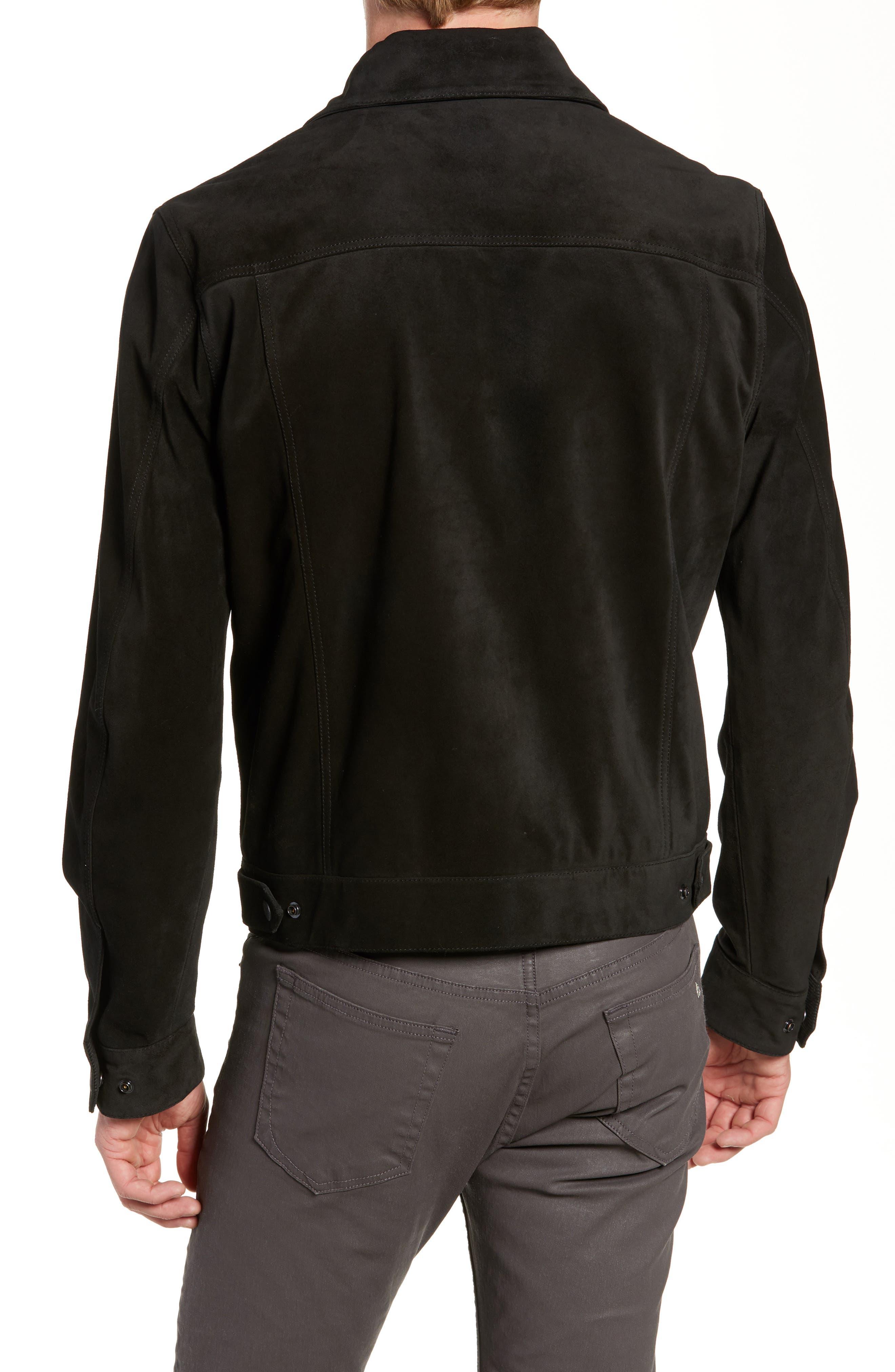 Suede Slim Fit Trucker Jacket,                             Alternate thumbnail 2, color,                             BLACK