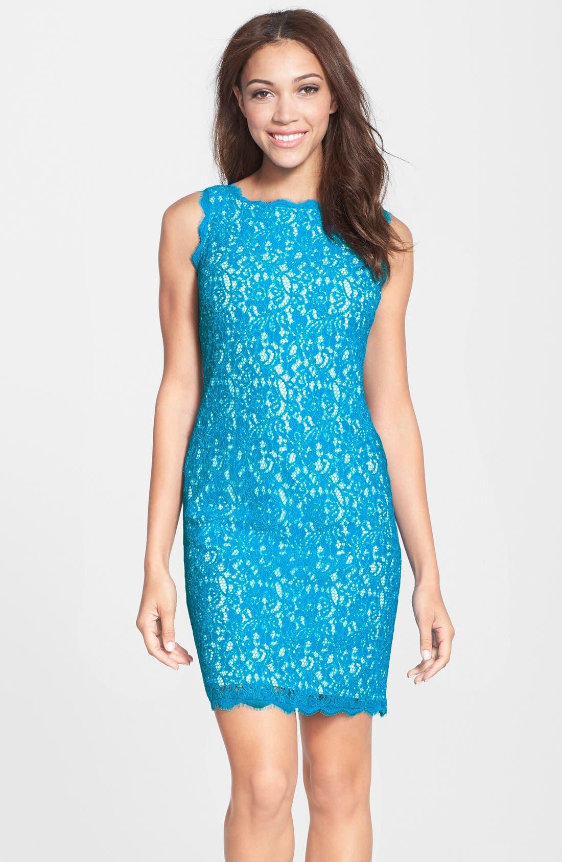 Boatneck Lace Sheath Dress,                             Main thumbnail 18, color,