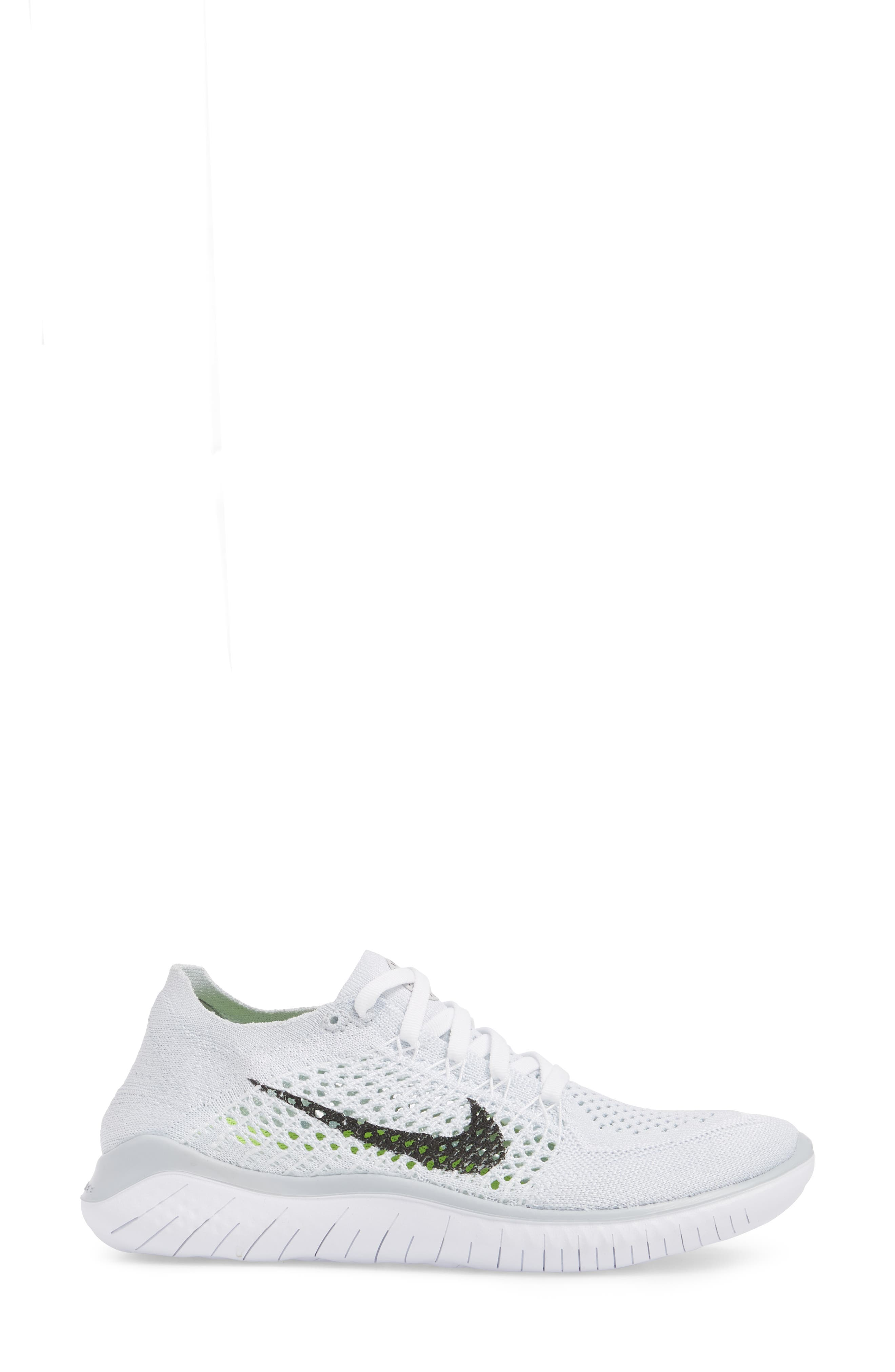 Free RN Flyknit 2018 Running Shoe,                             Alternate thumbnail 3, color,                             WHITE/ BLACK/ PURE PLATINUM