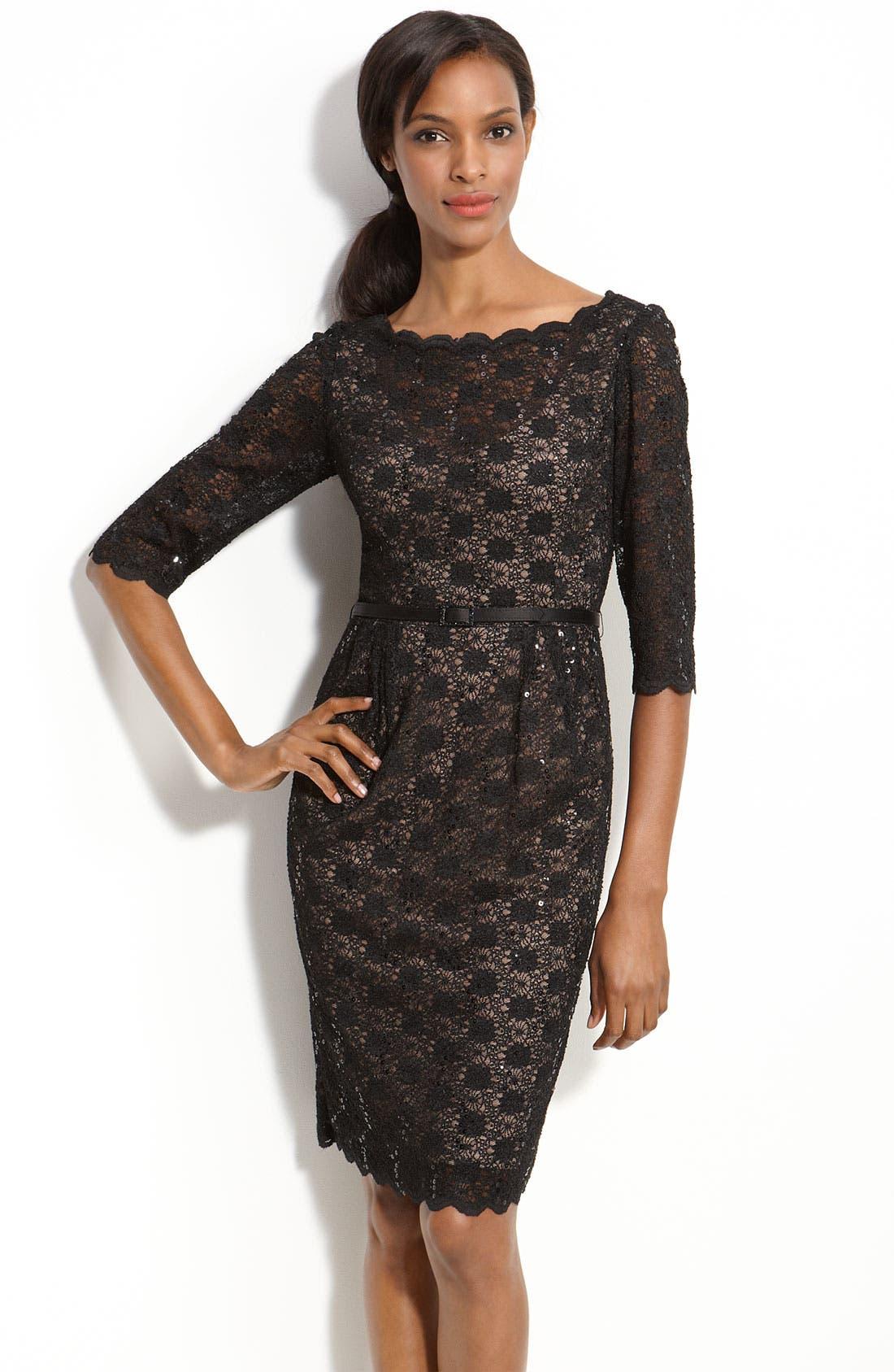 Lace Sheath Dress,                         Main,                         color, 001