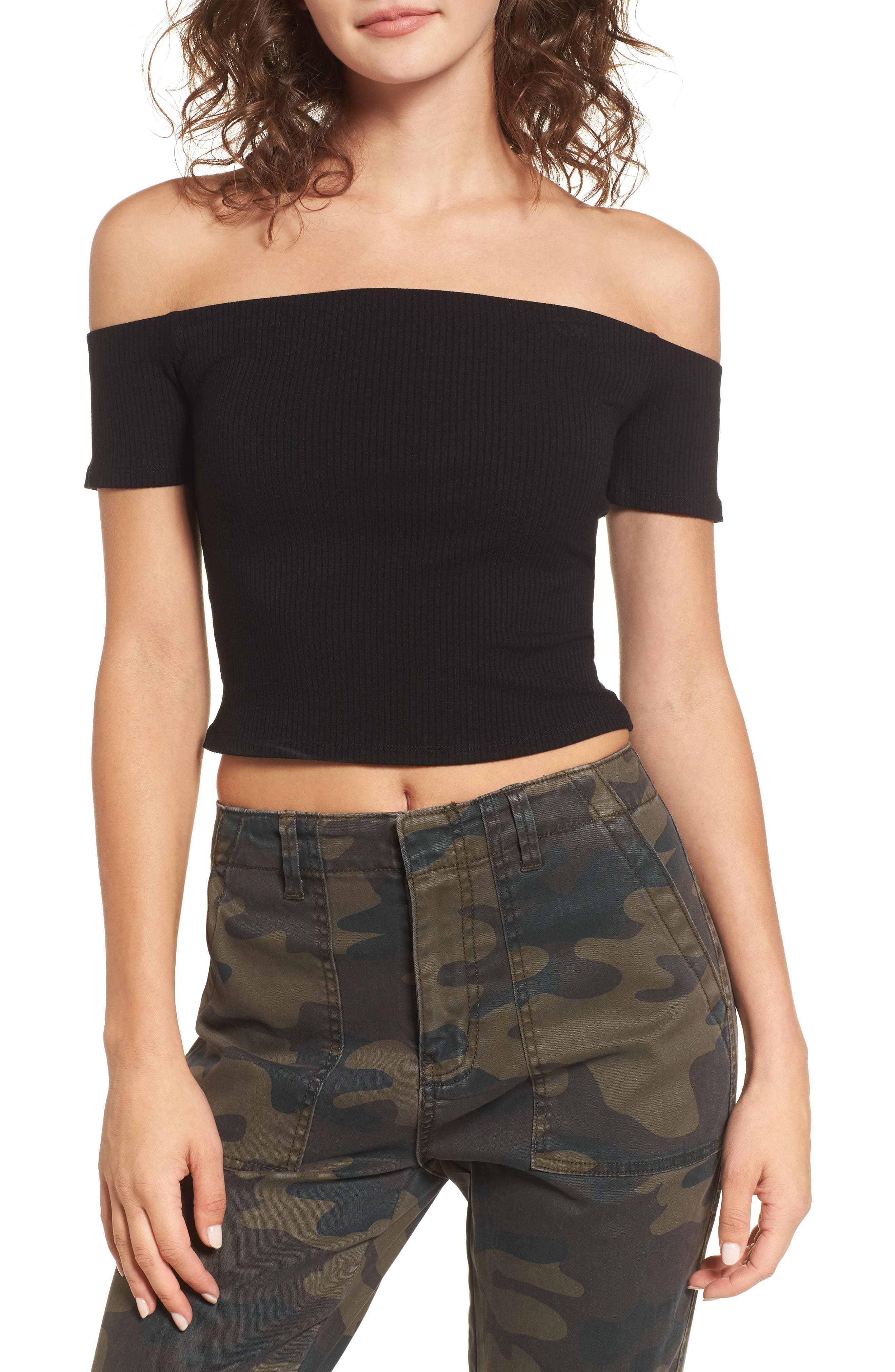 Frankie Off the Shoulder Top,                             Main thumbnail 1, color,                             001