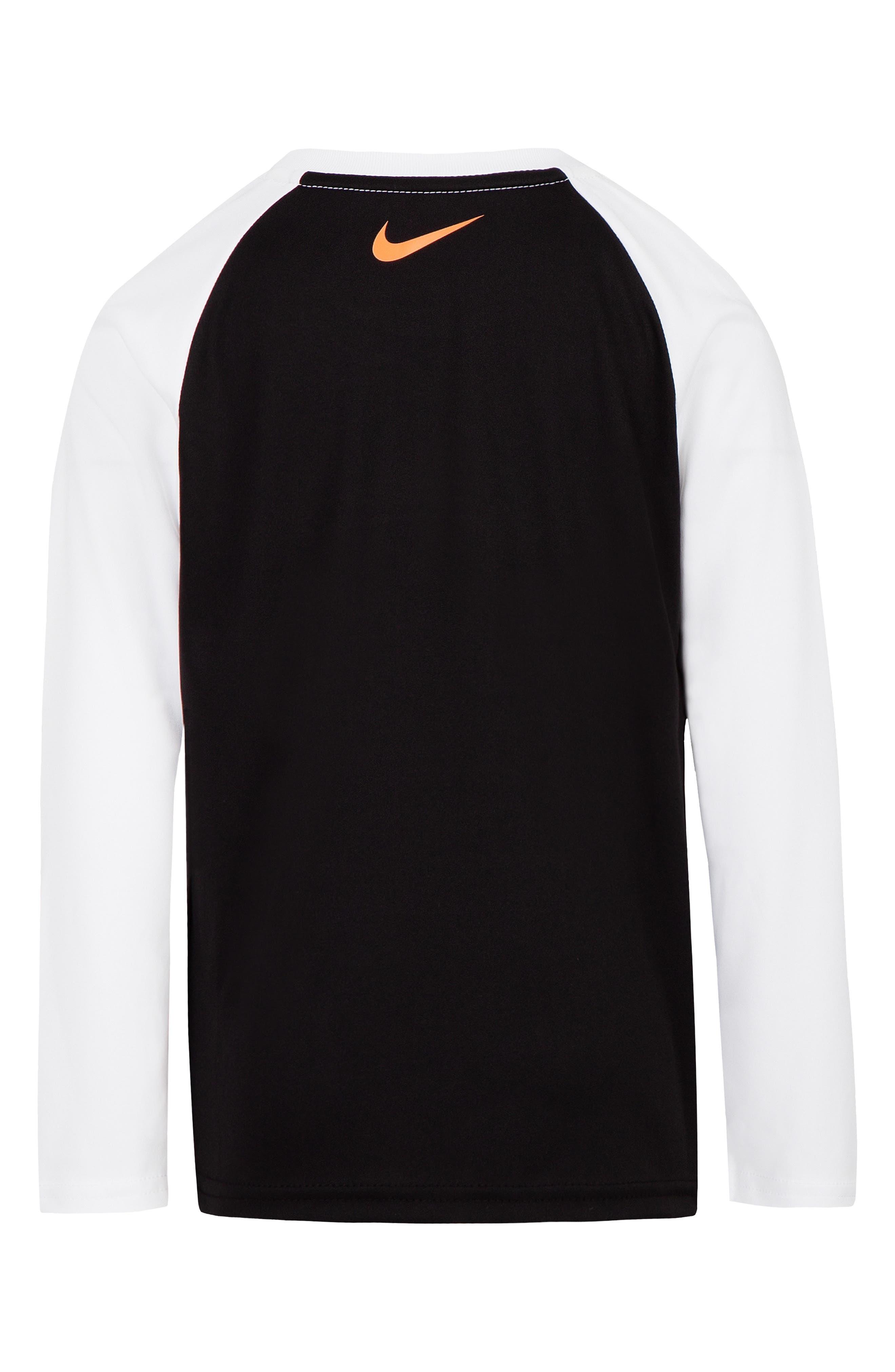 Dry Swoosh Fill Raglan T-Shirt,                             Alternate thumbnail 2, color,                             BLACK