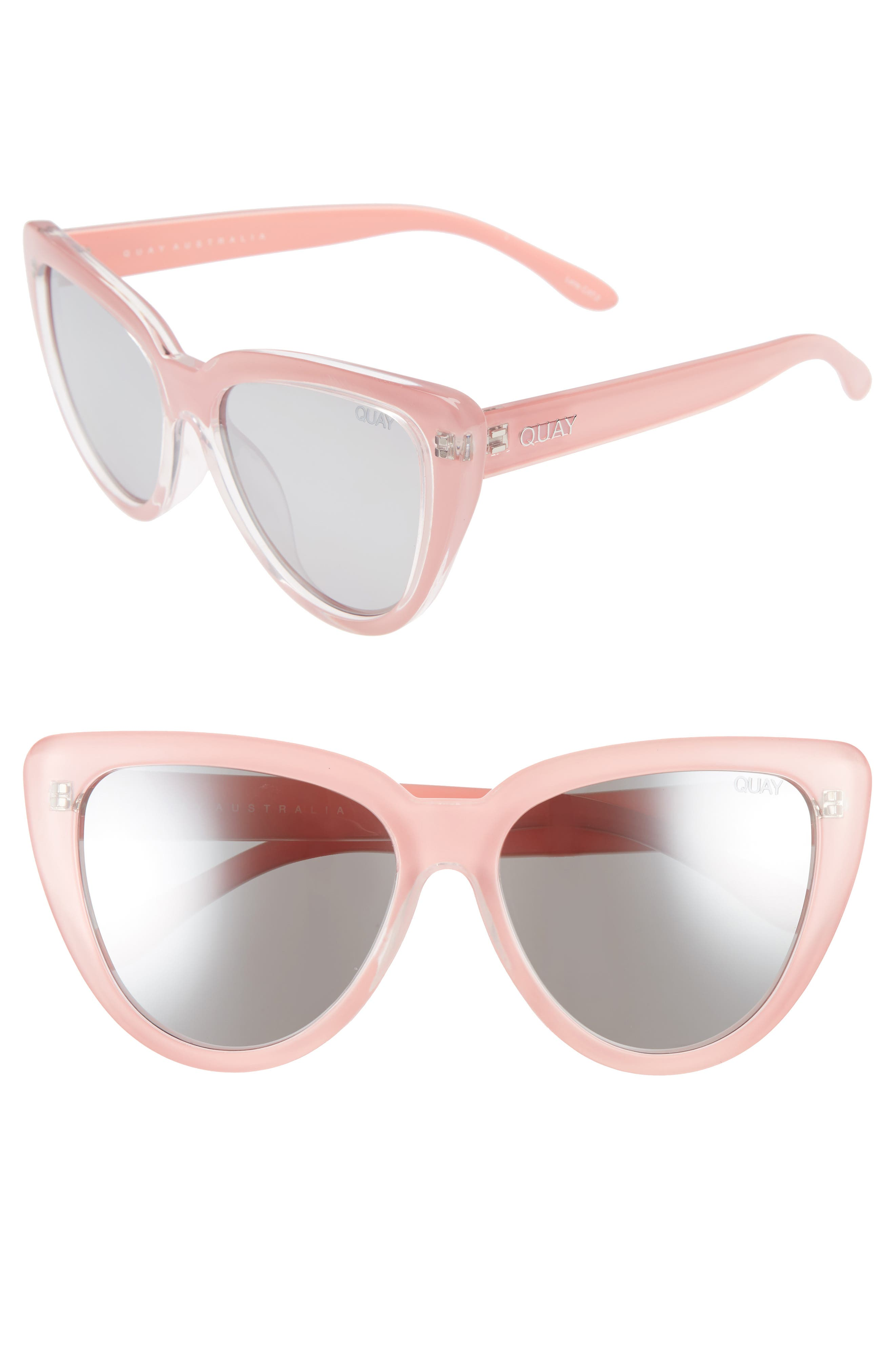 Quay Australia Stray Cat 5m Mirrored Cat Eye Sunglasses - Peach/ Gradual Flash Mirror