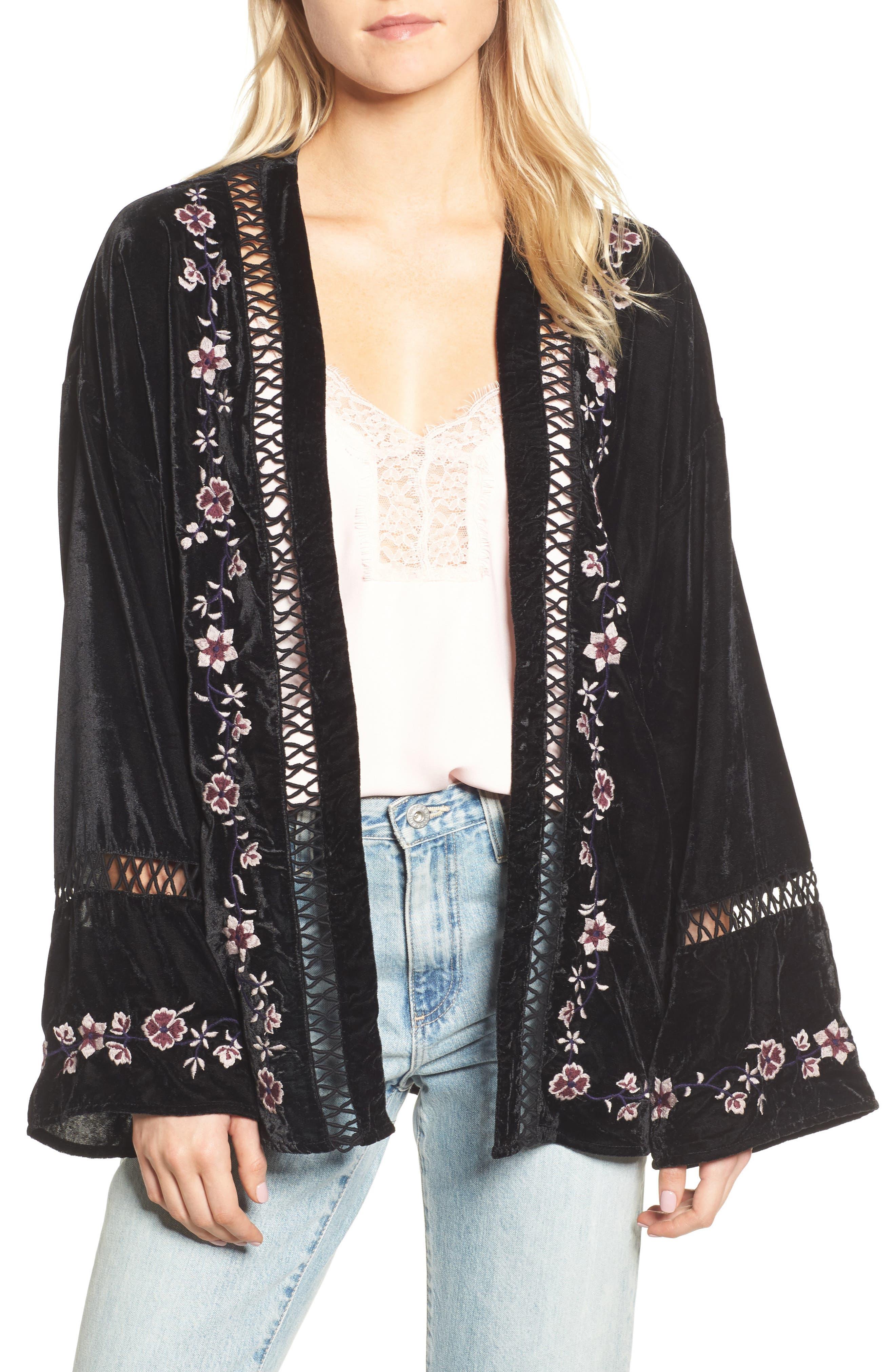 Embroidered Velvet Jacket,                         Main,                         color,