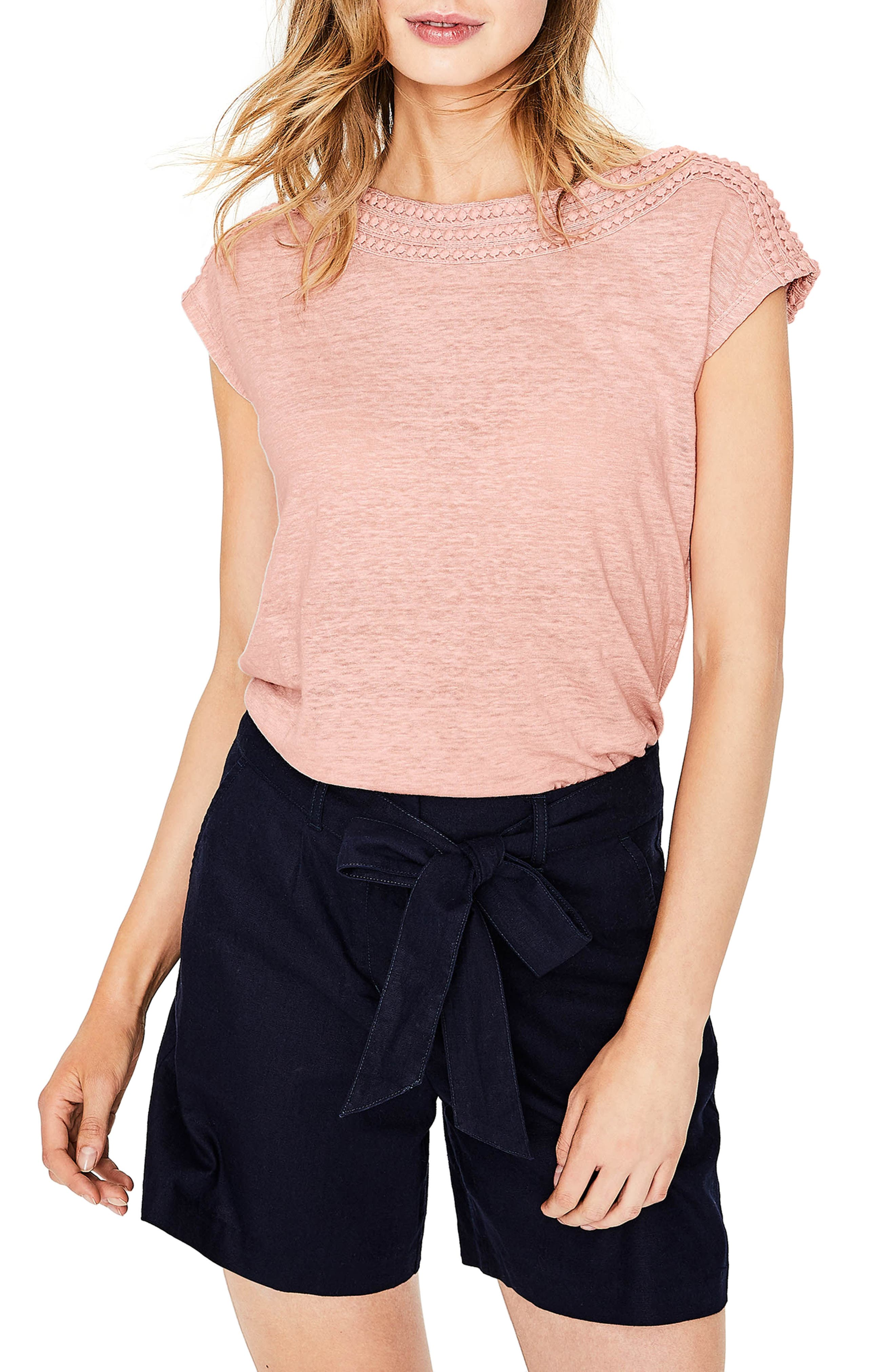 Embroidered Neck Linen Top,                         Main,                         color,