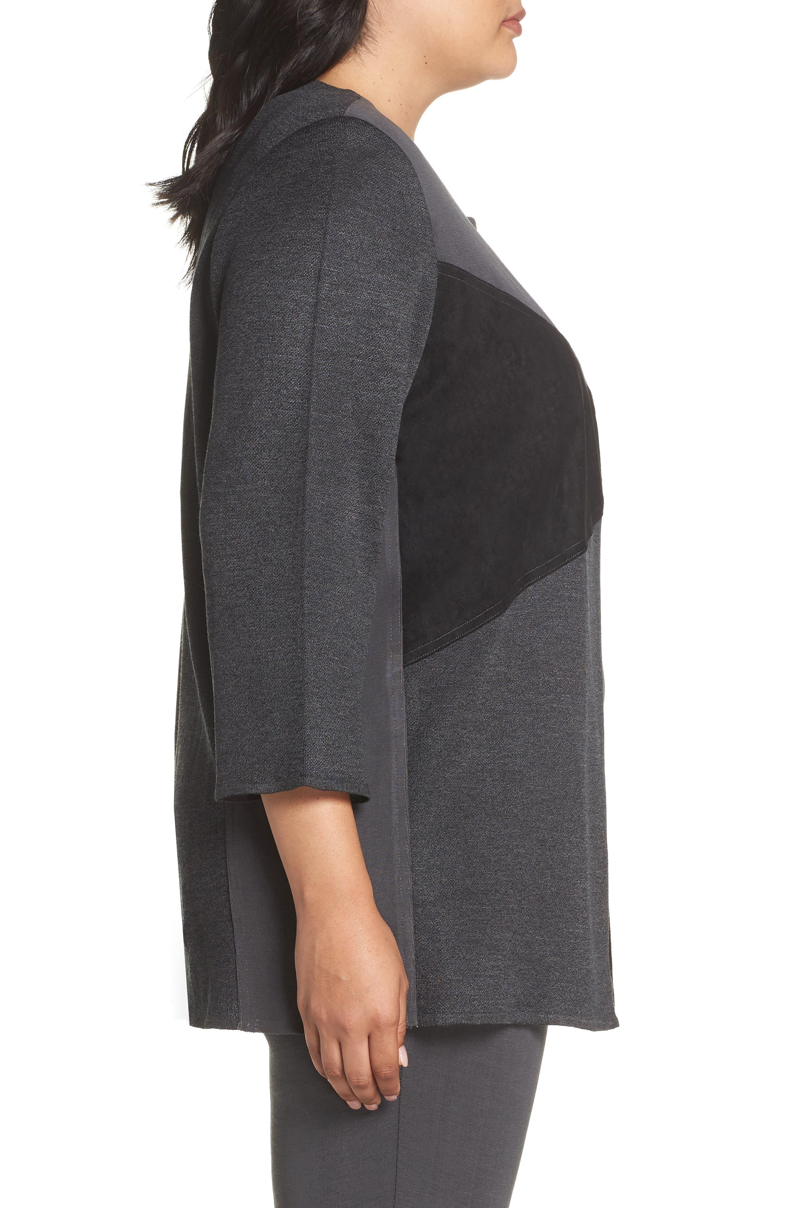 MING WANG,                             Colorblock Knit Jacket,                             Alternate thumbnail 3, color,                             BLACK/ GRANITE