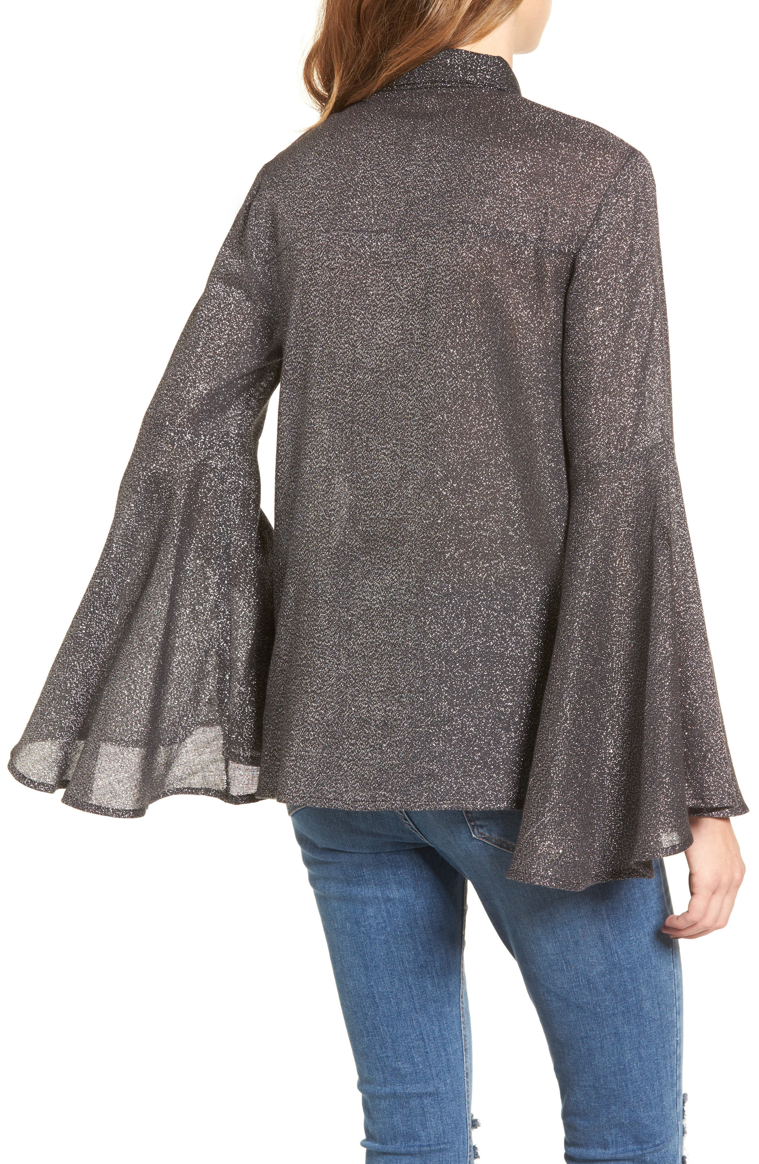 Sparkly Bell Sleeve Shirt,                             Alternate thumbnail 2, color,                             001