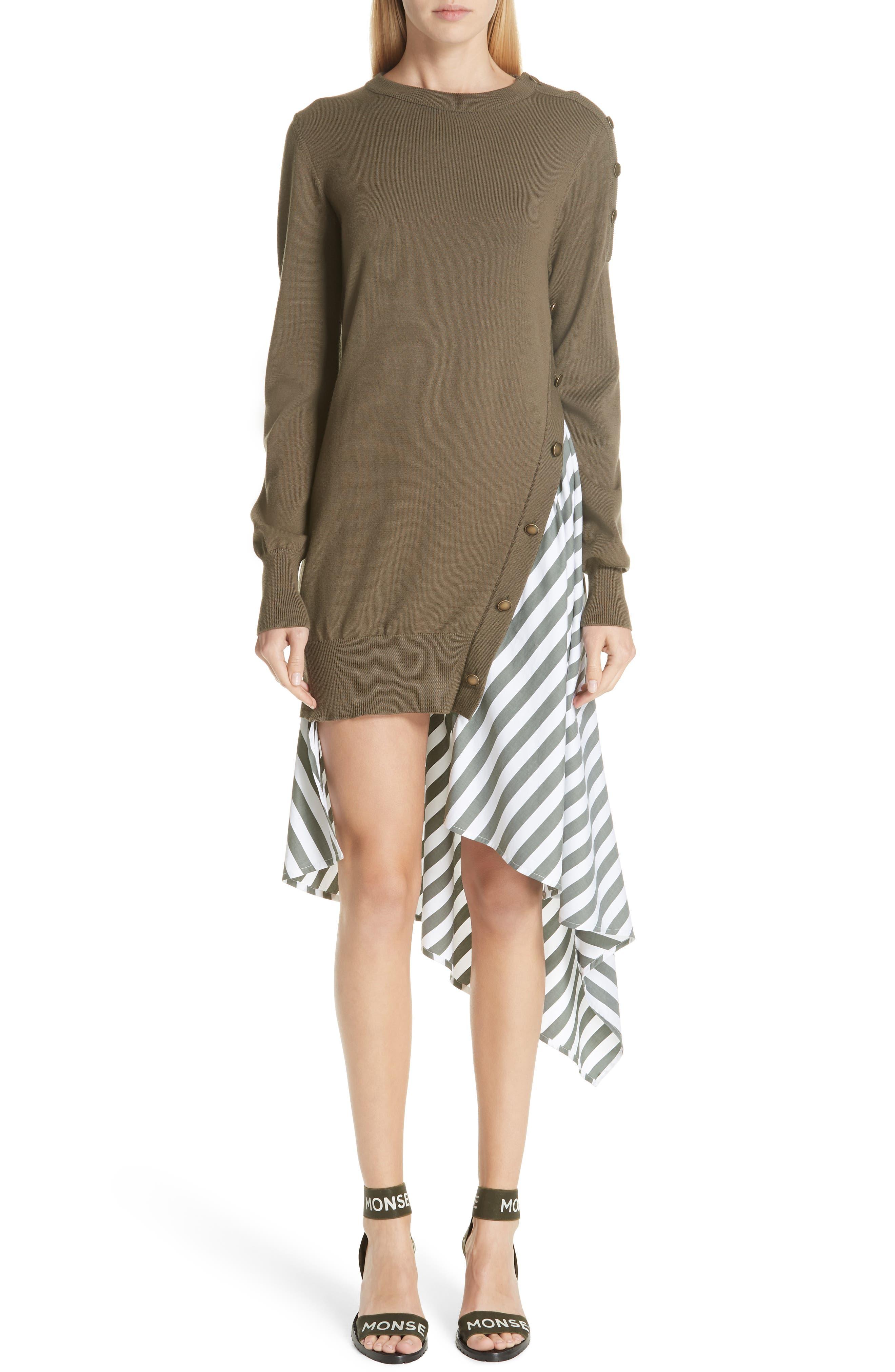 MONSE Knit & Stripe Poplin Asymmetrical Dress, Main, color, OLIVE/ WHITE