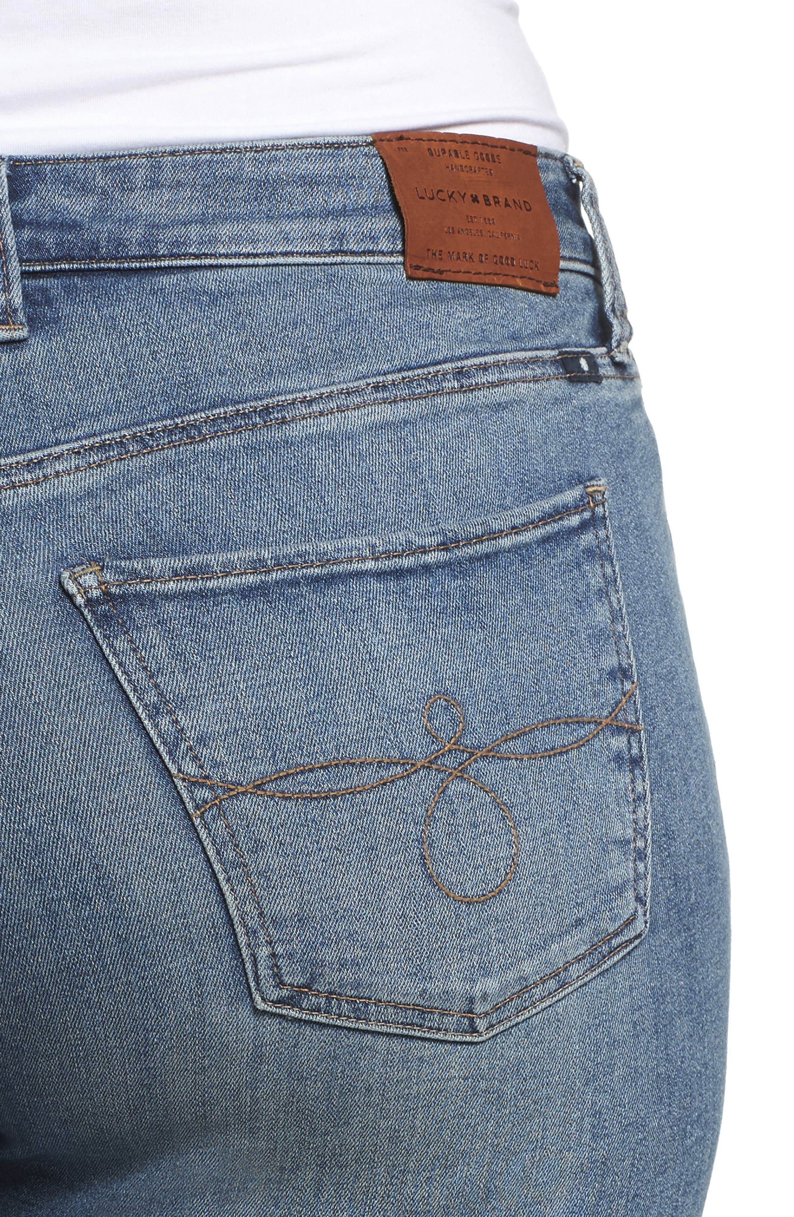 LUCKY BRAND,                             Ginger Fringed Hem Skinny Jeans,                             Alternate thumbnail 4, color,                             400