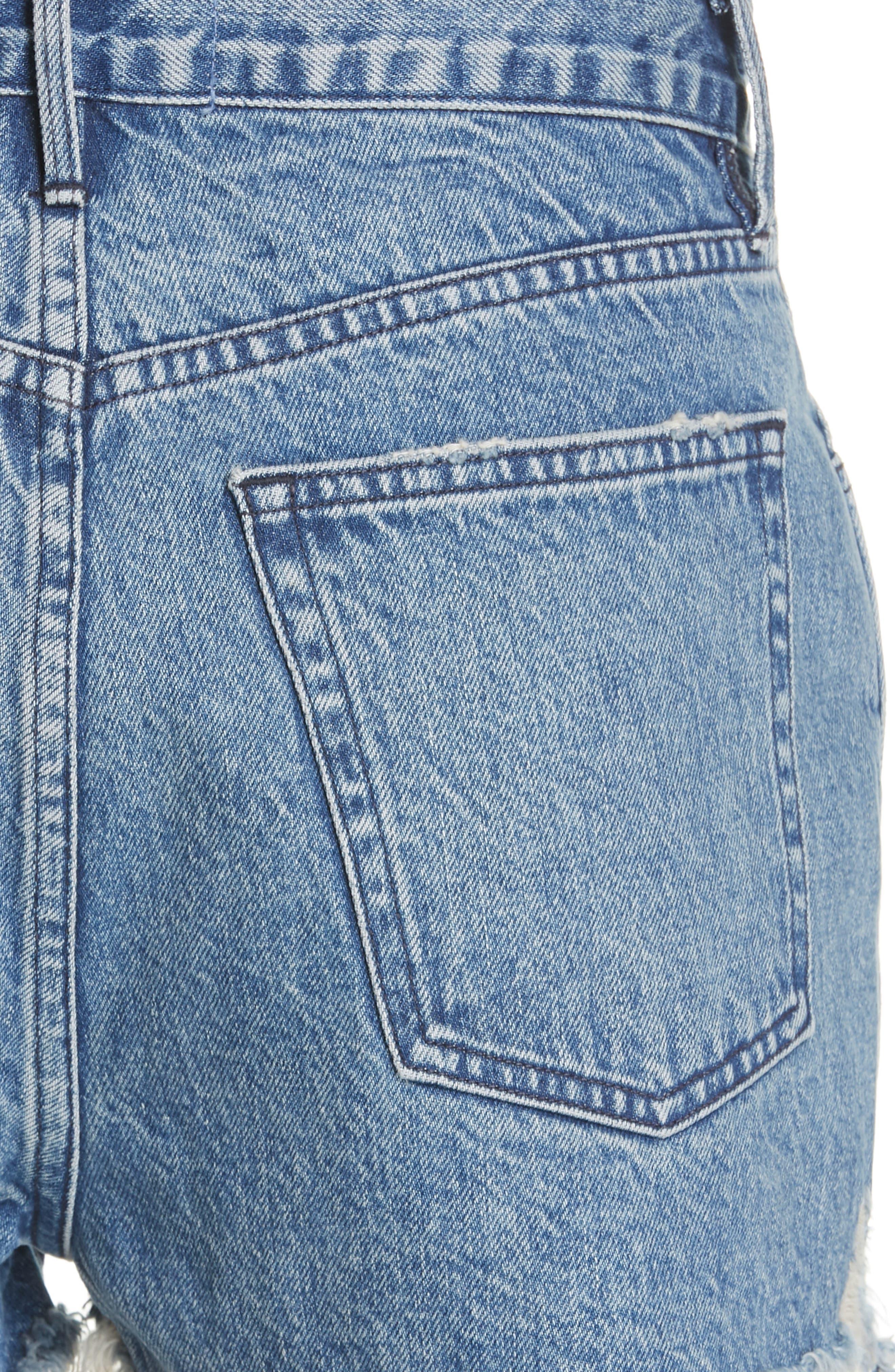 W4 Carter Ripped High Waist Denim Shorts,                             Alternate thumbnail 4, color,                             421
