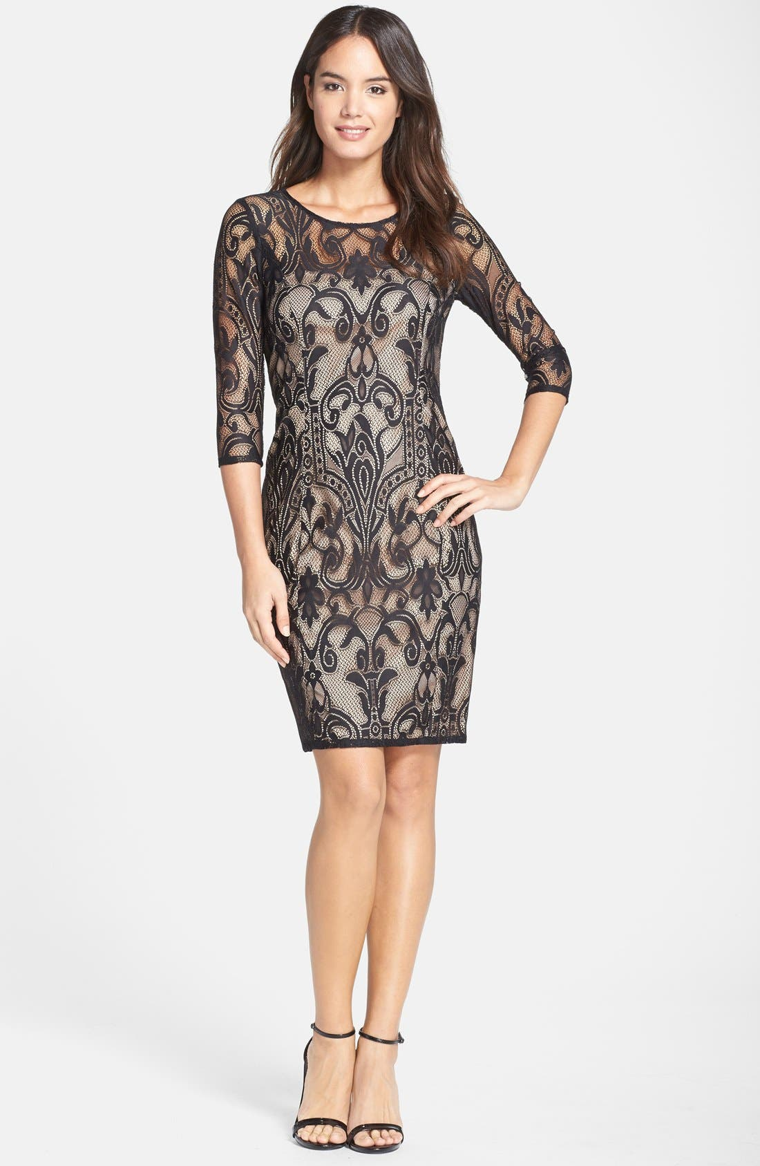 Lace Sheath Dress,                             Alternate thumbnail 4, color,                             001