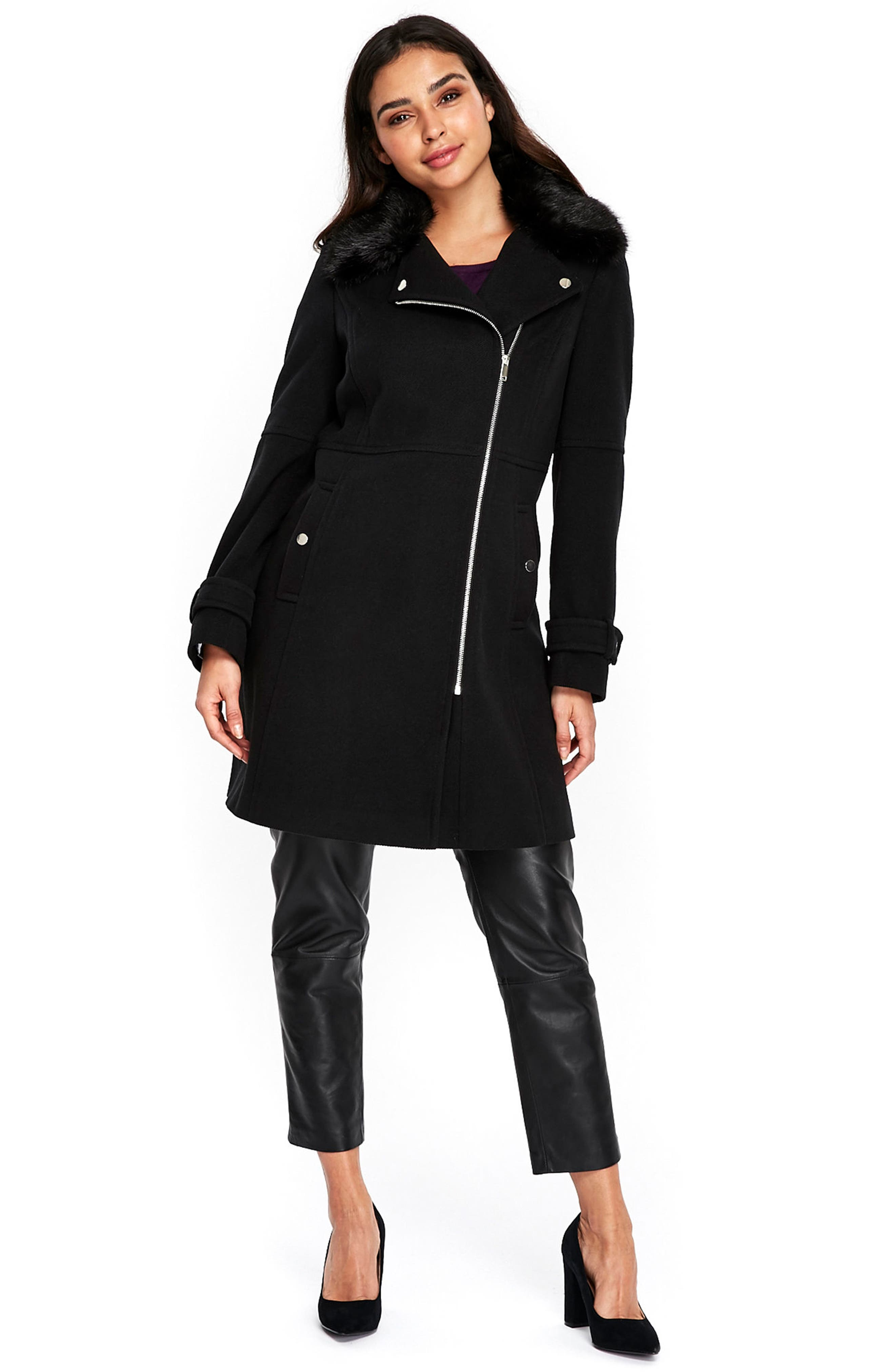 Twill Biker Jacket with Faux Fur Collar,                             Alternate thumbnail 6, color,