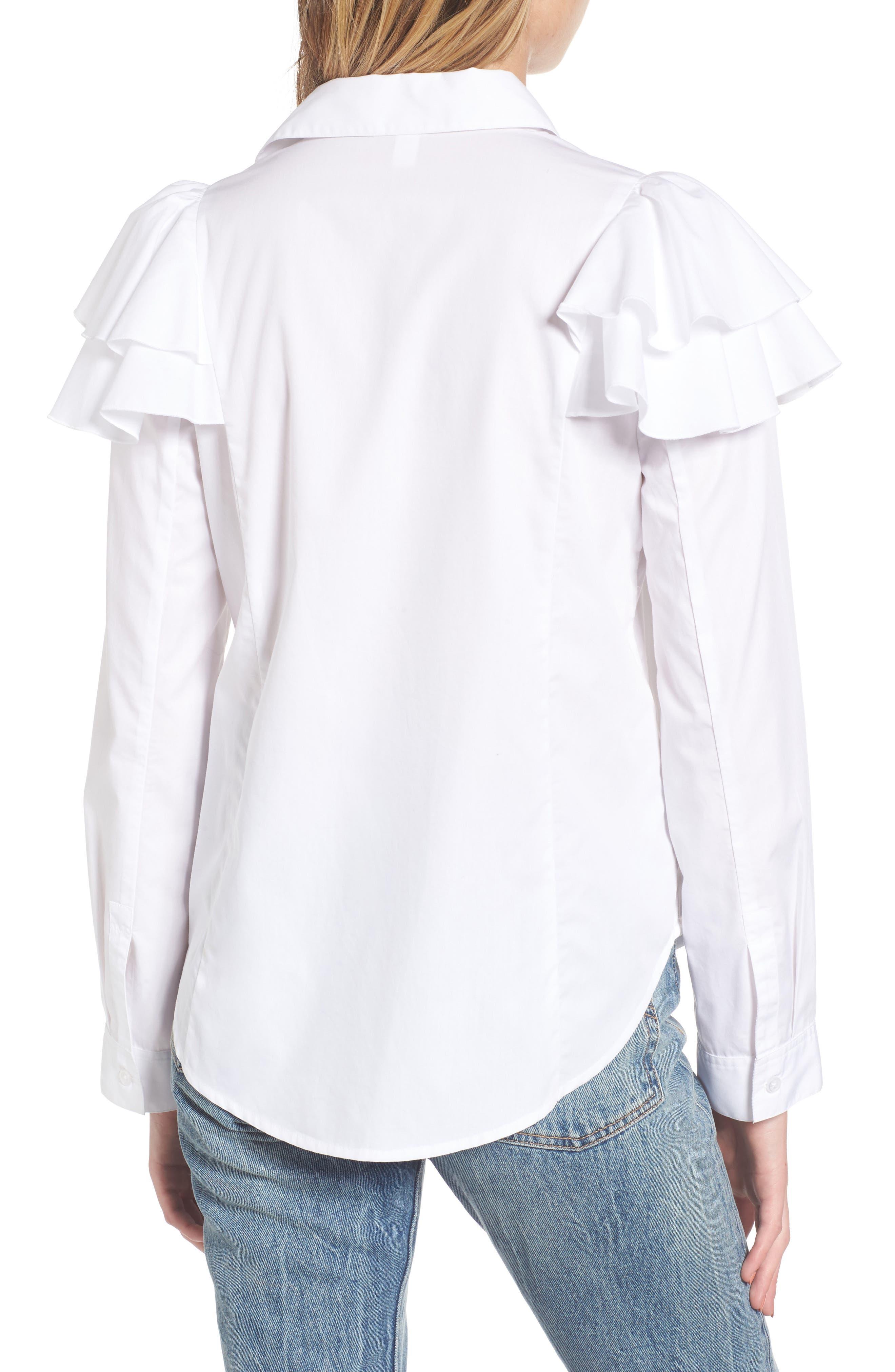 Ruffle Shoulder Shirt,                             Alternate thumbnail 2, color,                             100