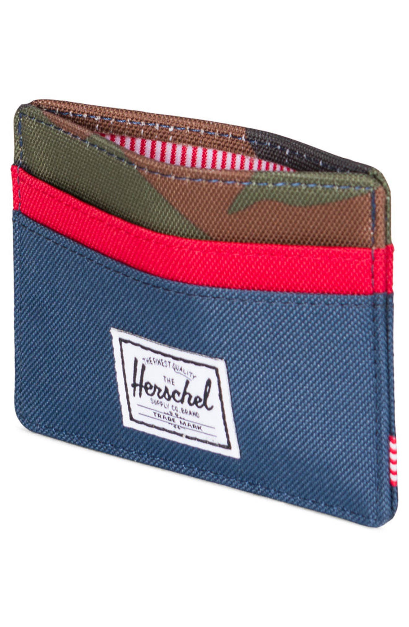 Charlie RFID Card Case,                             Alternate thumbnail 2, color,                             NAVY/ RED/ CAMO