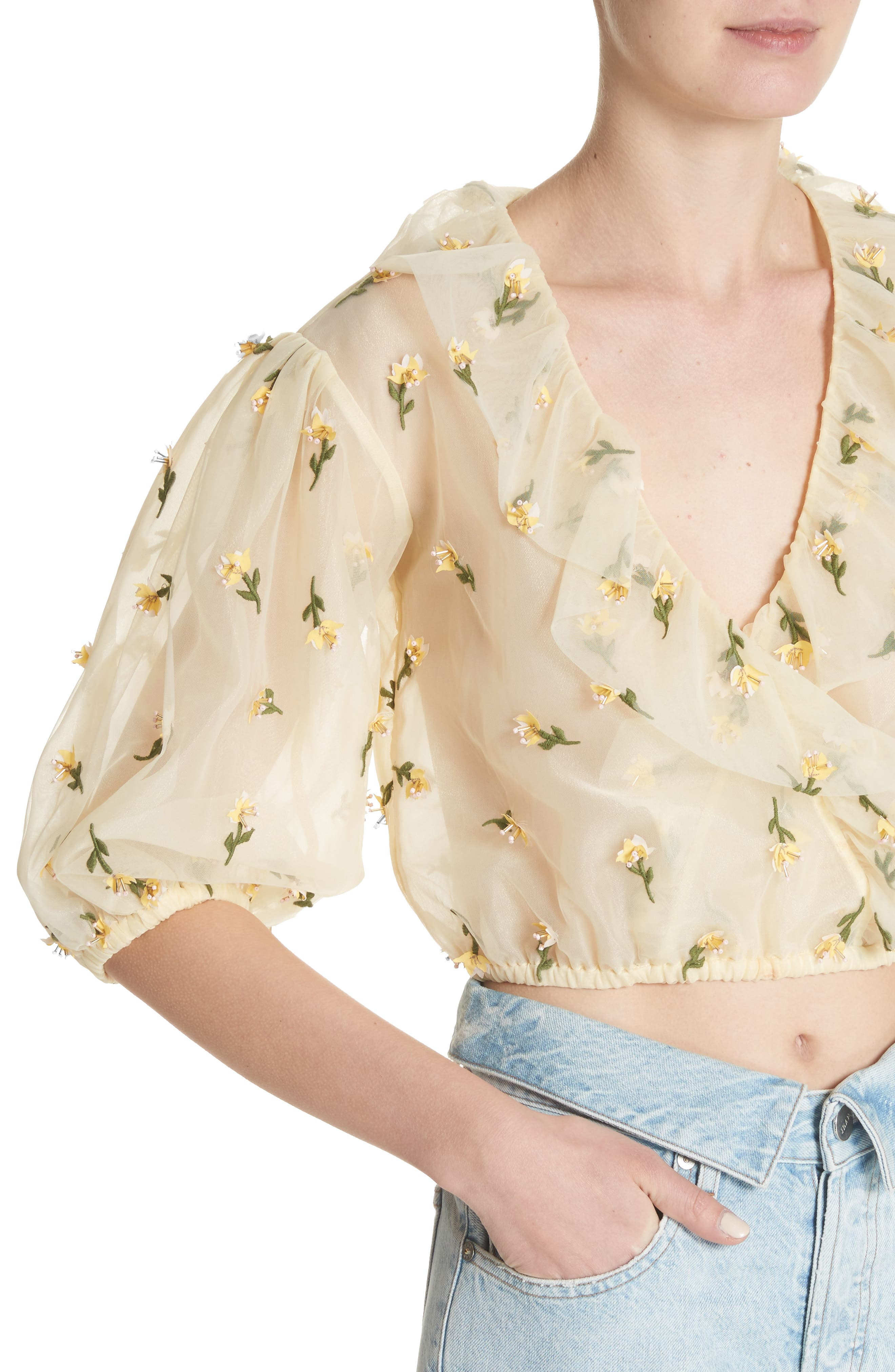 Bliss Embroidered Floral Wrap Top,                             Alternate thumbnail 4, color,