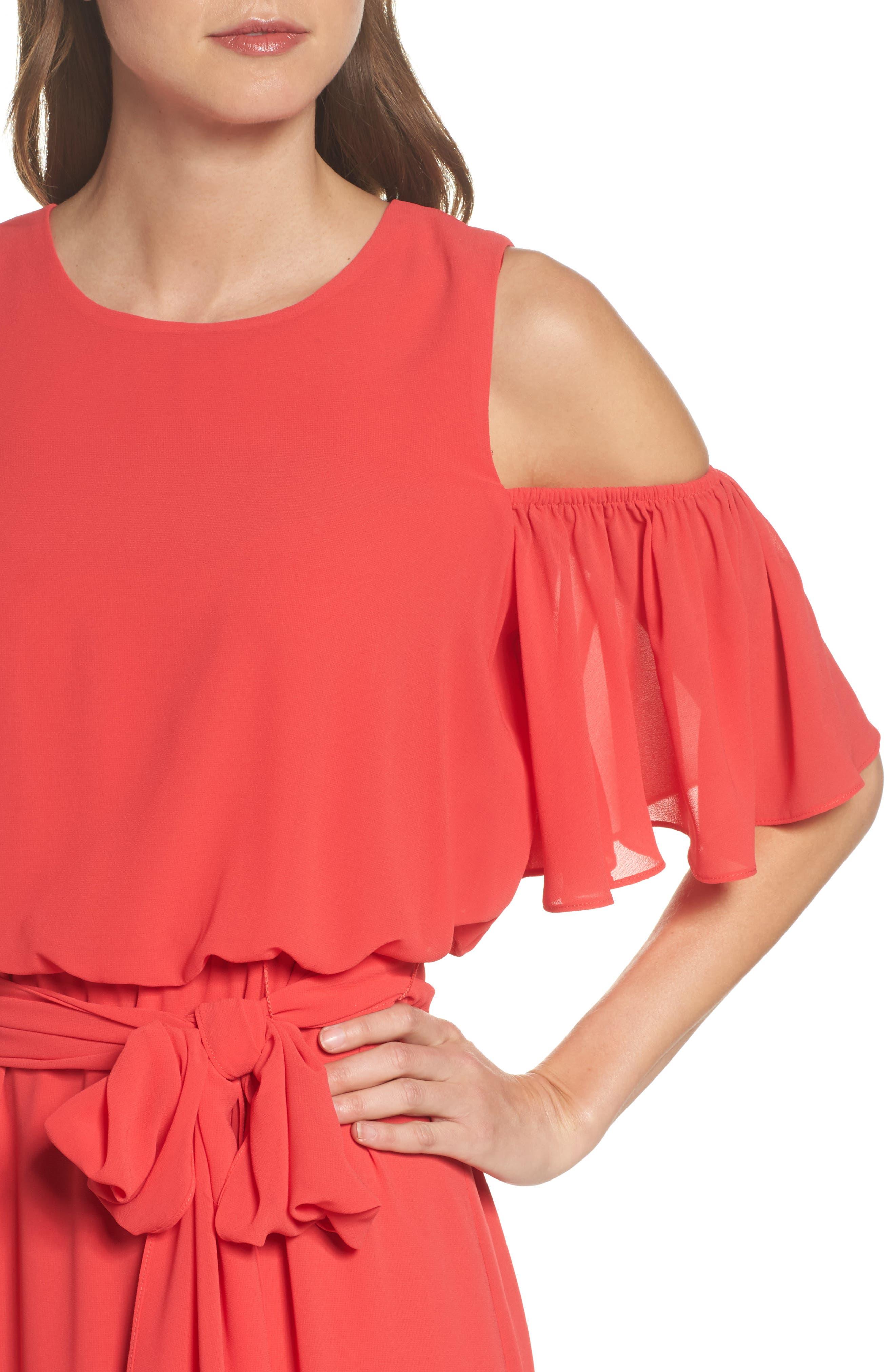 Cold Shoulder Dress,                             Alternate thumbnail 4, color,                             652