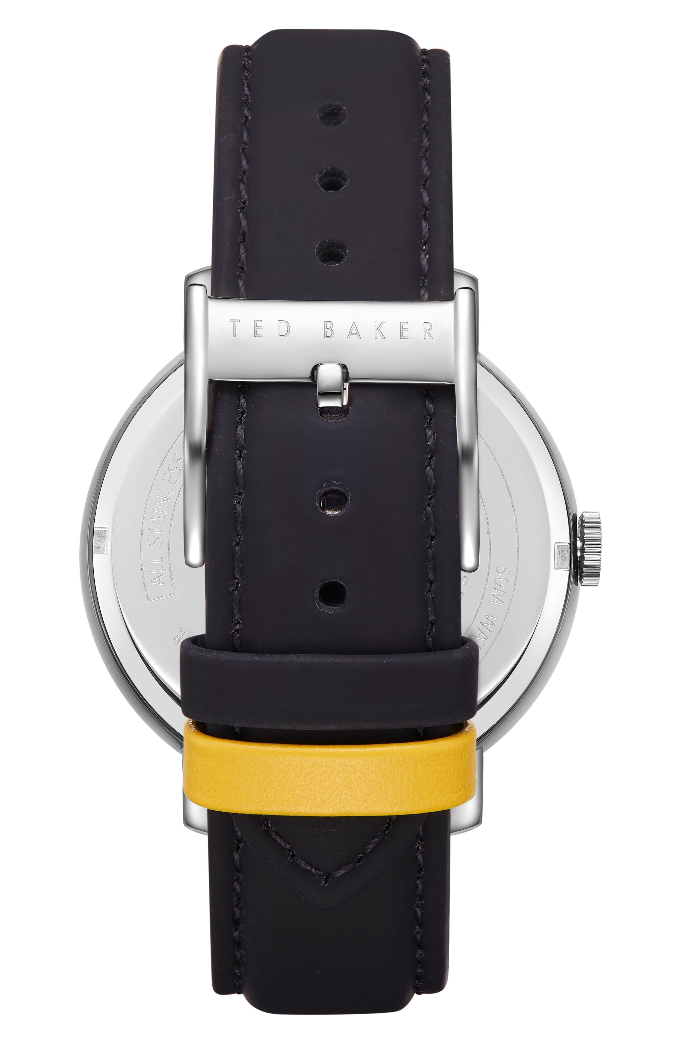 Oscar Leather Strap Watch, 43mm,                             Alternate thumbnail 2, color,                             SILVER/ BLACK
