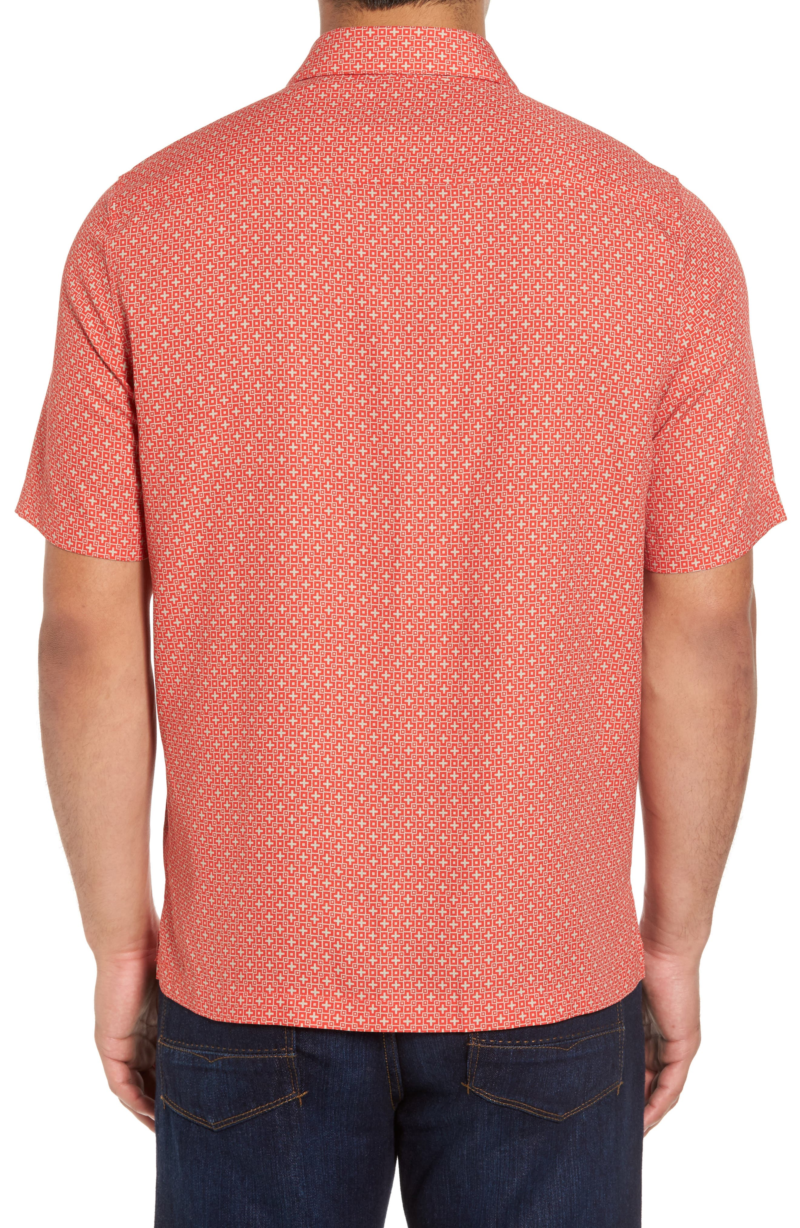 Everest Print Silk Blend Sport Shirt,                             Alternate thumbnail 6, color,
