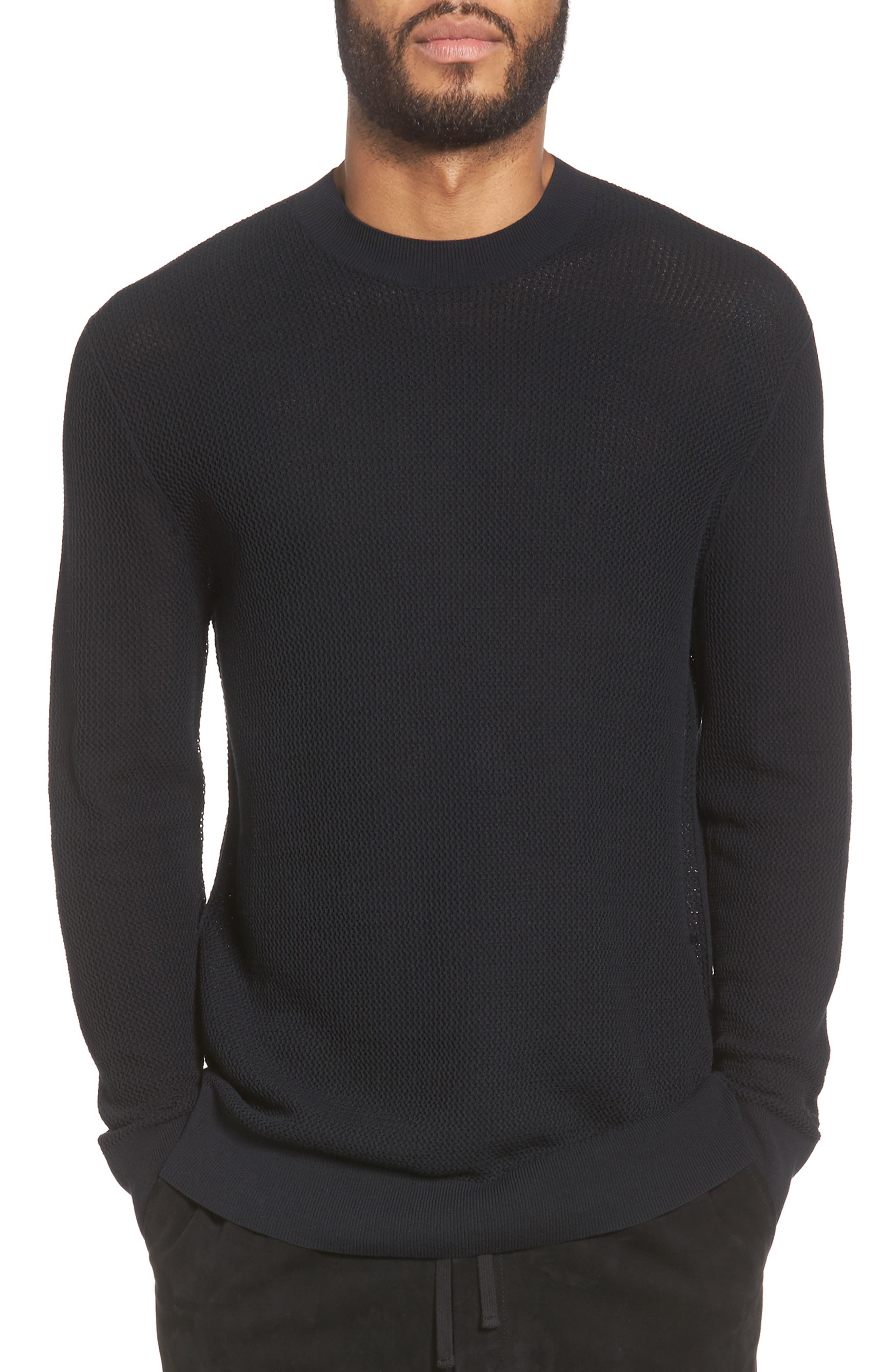 Mesh Crewneck Sweater,                             Main thumbnail 1, color,                             001