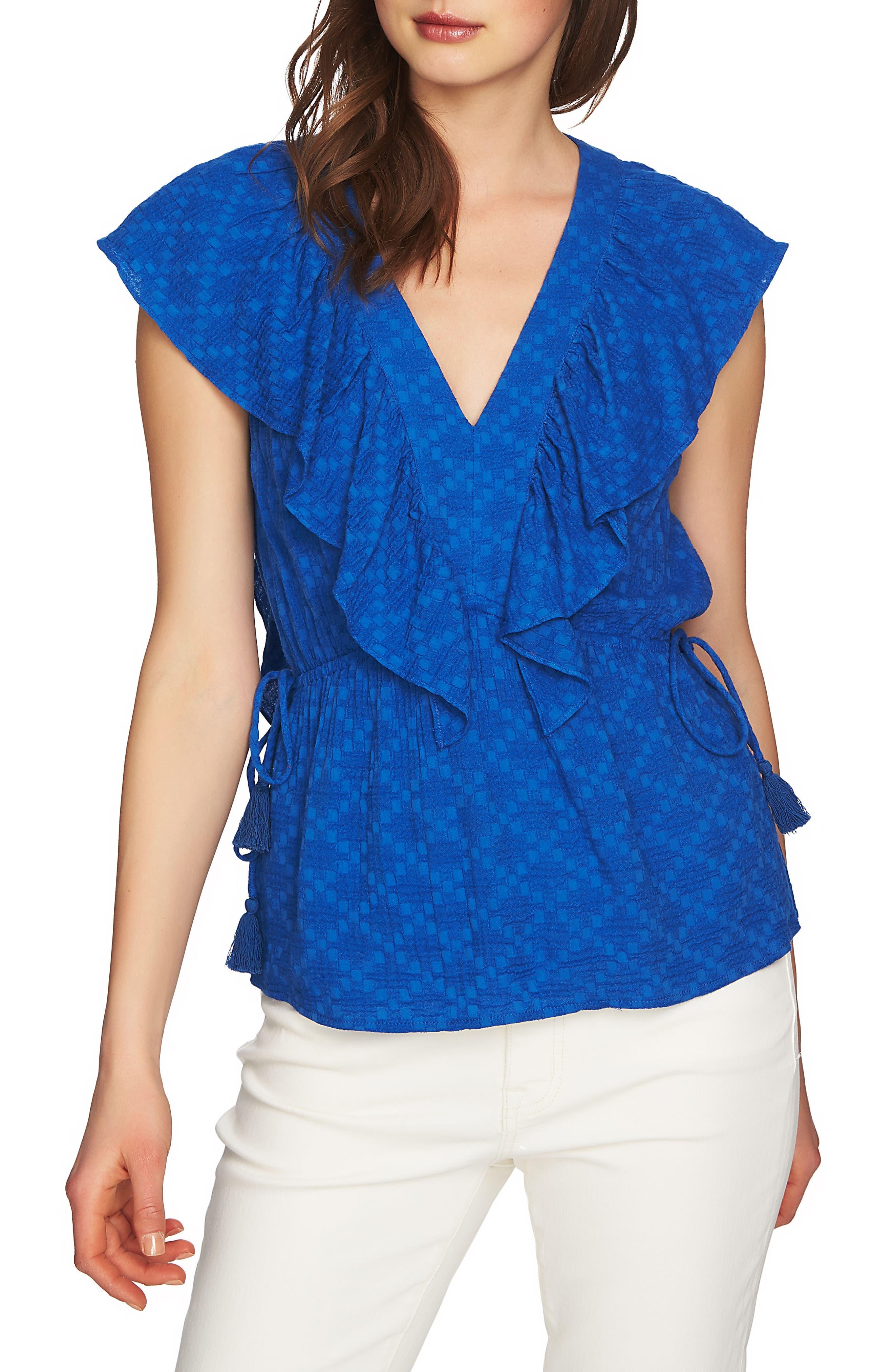 V-Neck Ruffle Edge Top,                         Main,                         color, ZEN BLUE