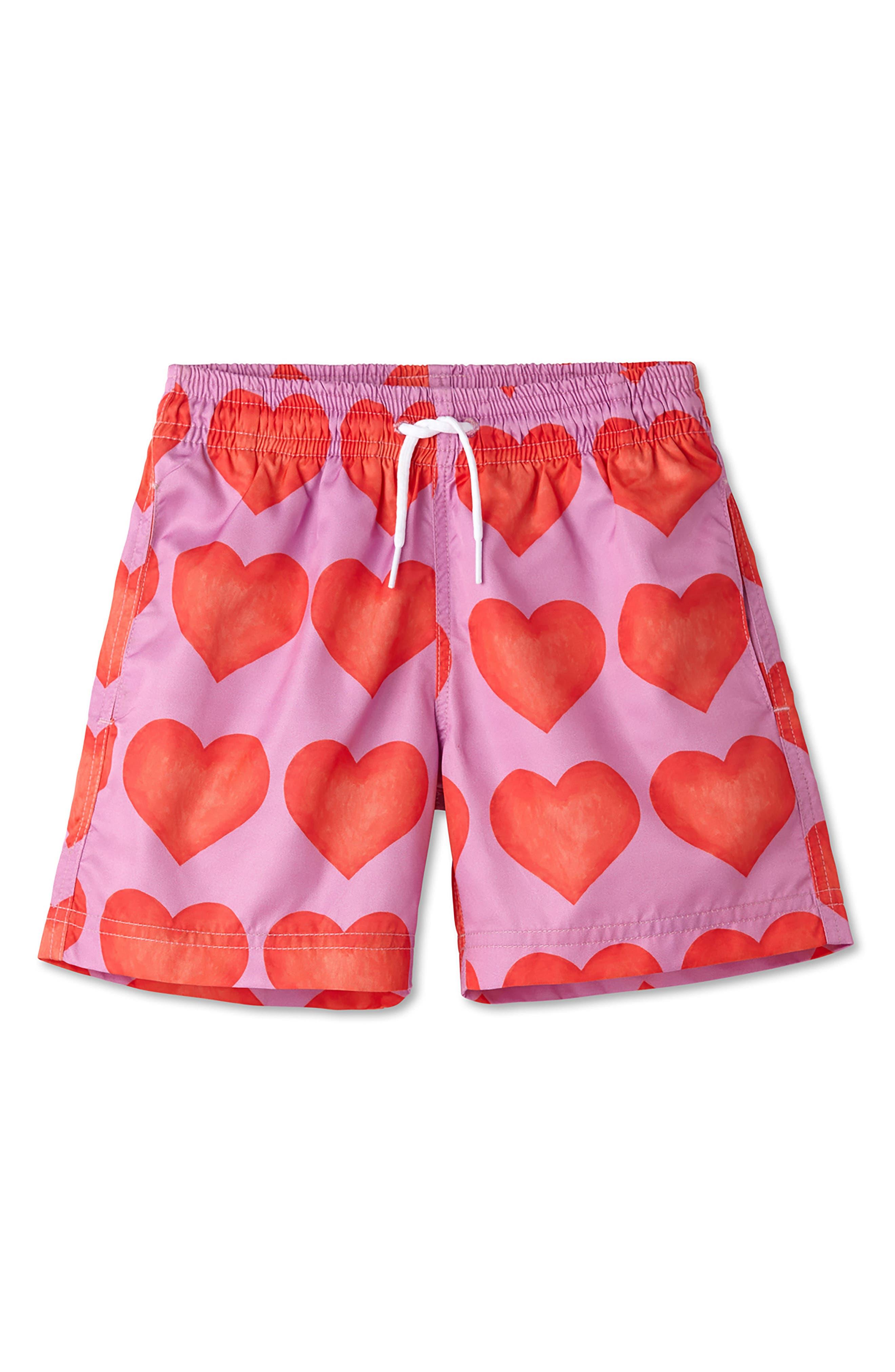 Heart Print Swim Trunks,                         Main,                         color,