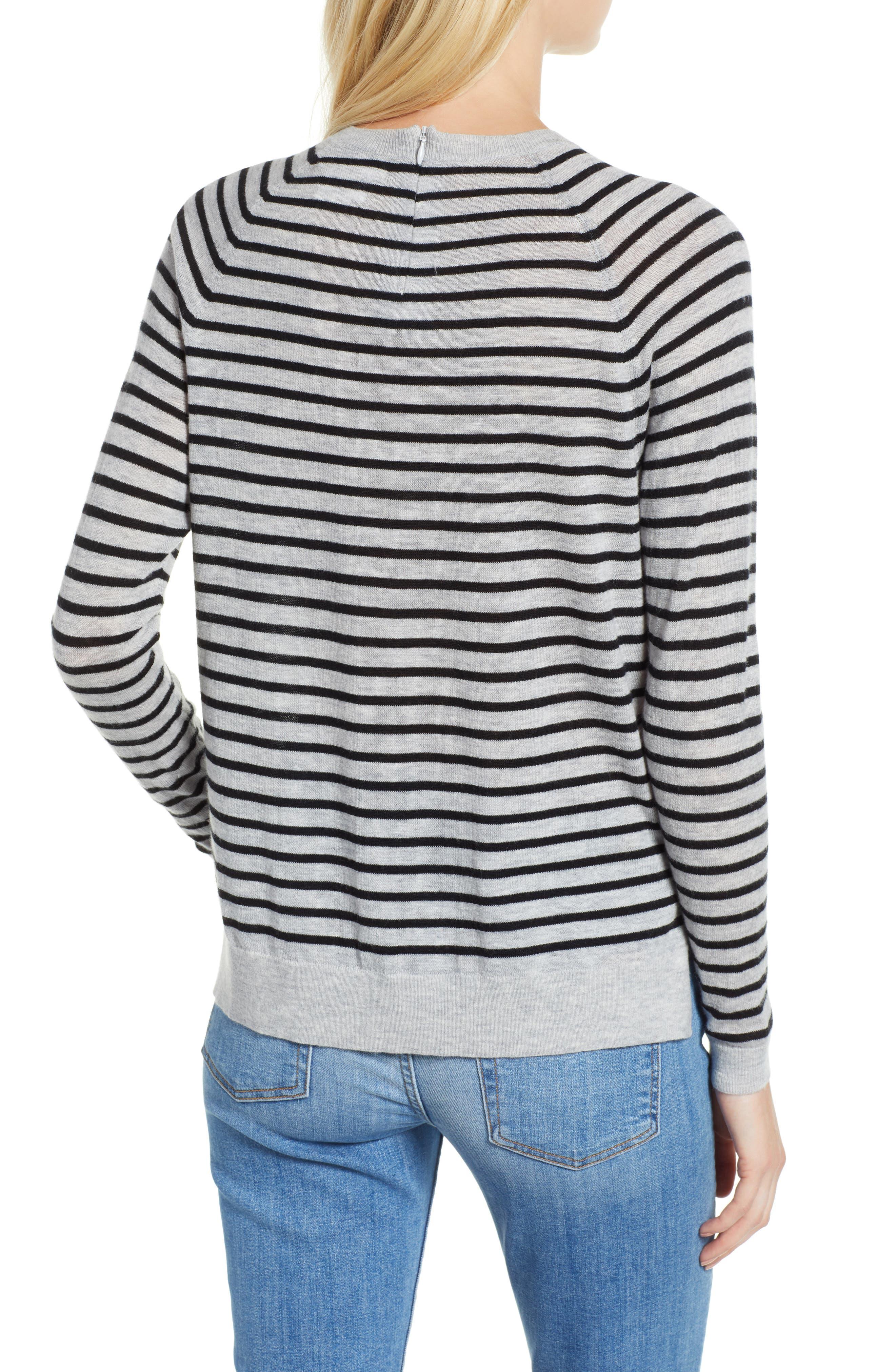 Stripe Zip Back Crewneck Sweater,                             Alternate thumbnail 2, color,                             059