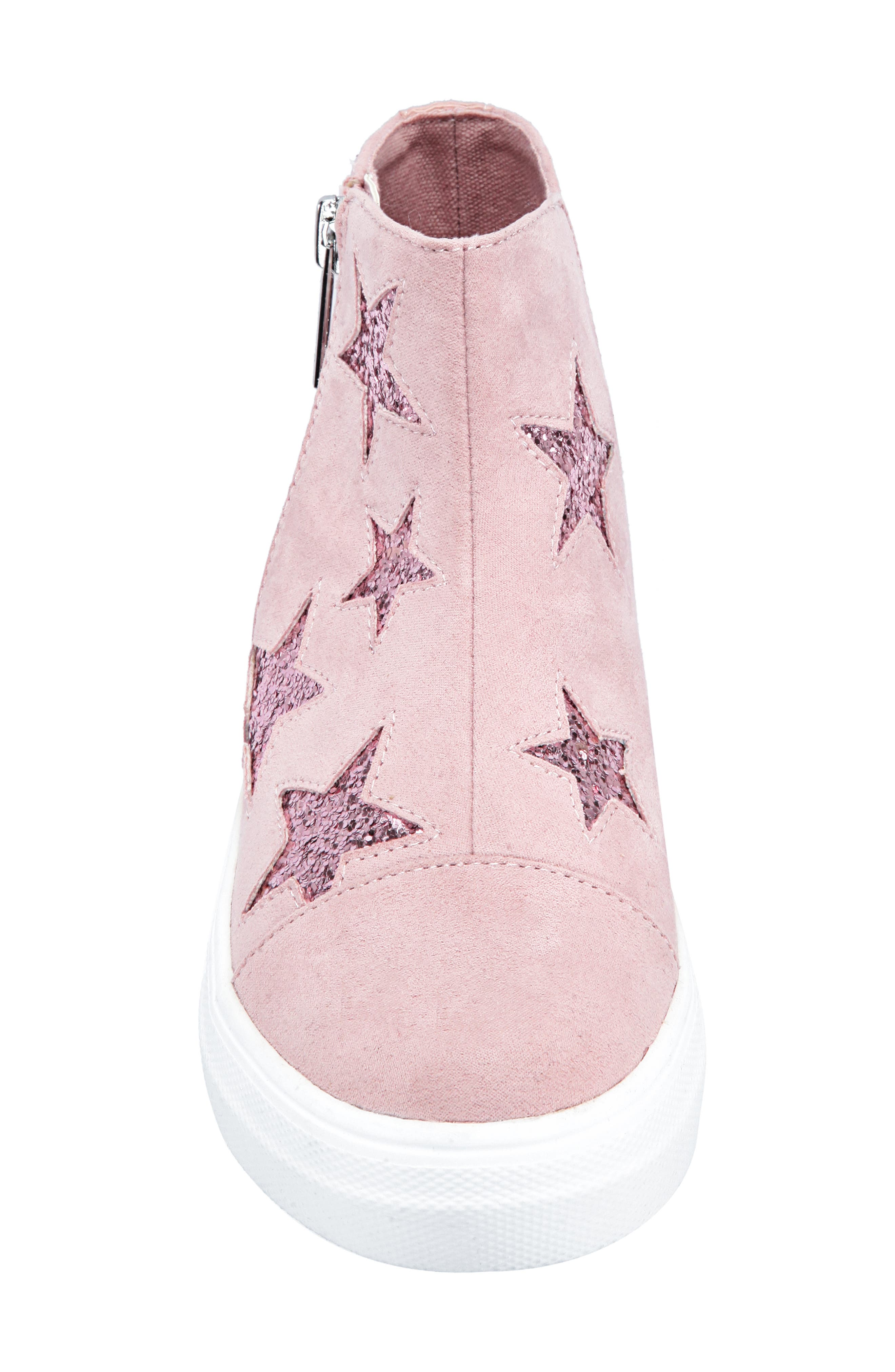 Jacqui Glitter High Top Sneaker,                             Alternate thumbnail 4, color,                             BLUSH MICRO SUEDE