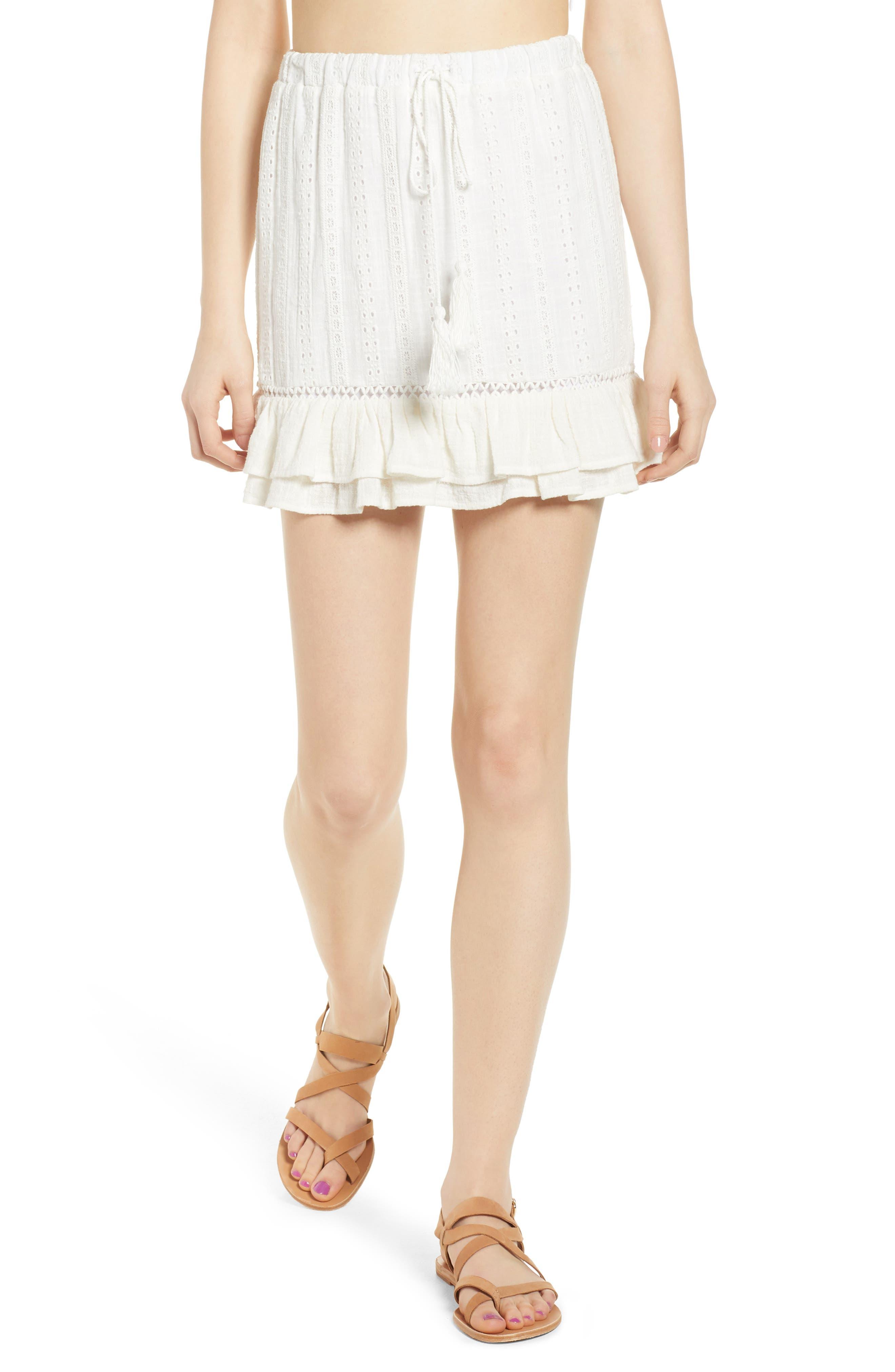 Daisy Ruffle Miniskirt,                             Main thumbnail 1, color,                             100