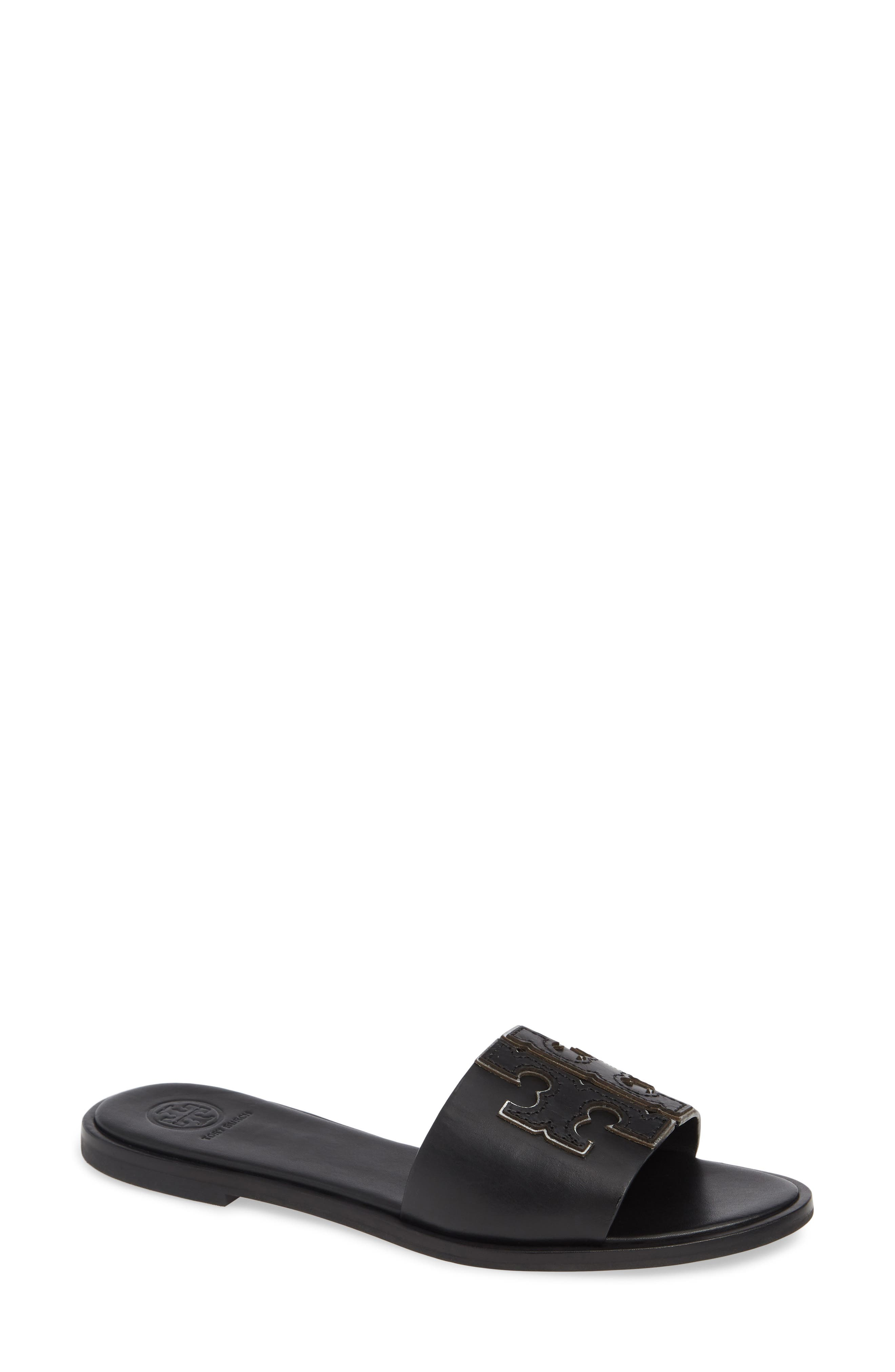 Women'S Ines Leather Slide Sandals in Perfect Black/ Silver