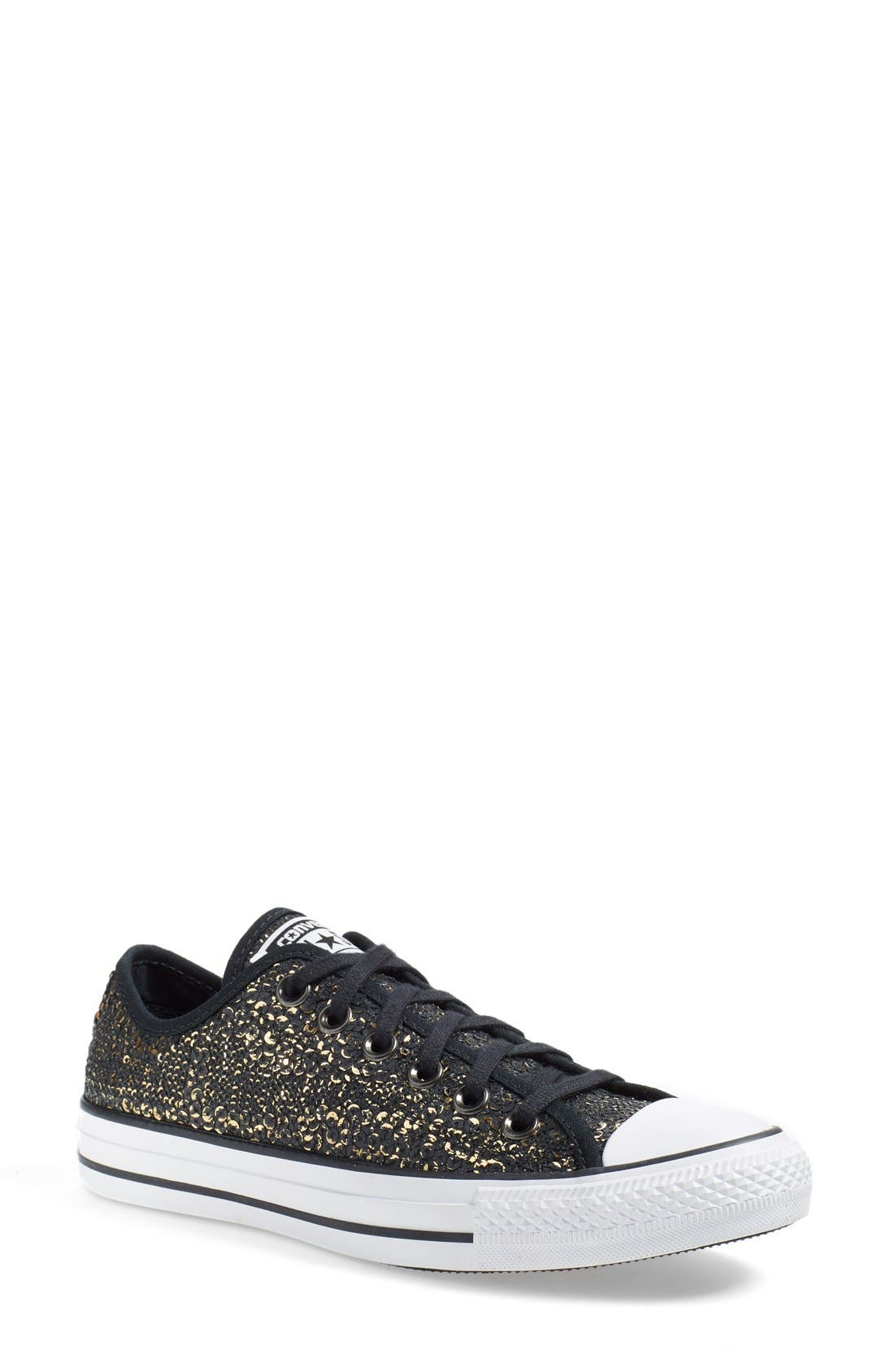 Chuck Taylor<sup>®</sup> All Star<sup>®</sup> 'Distressed Sequin Ox' Sneaker, Main, color, 001