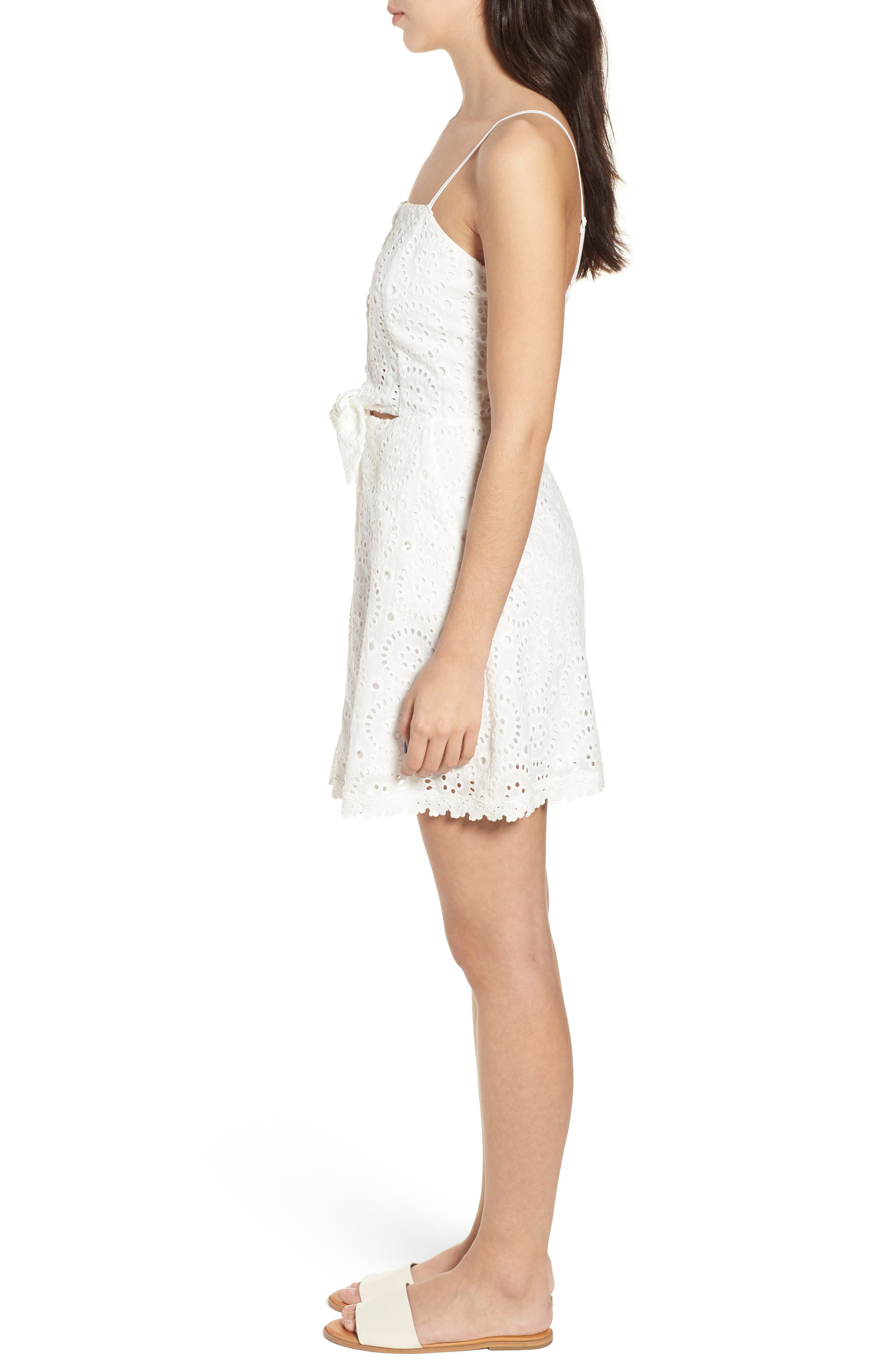 Bianca Eyelet Minidress,                             Alternate thumbnail 3, color,