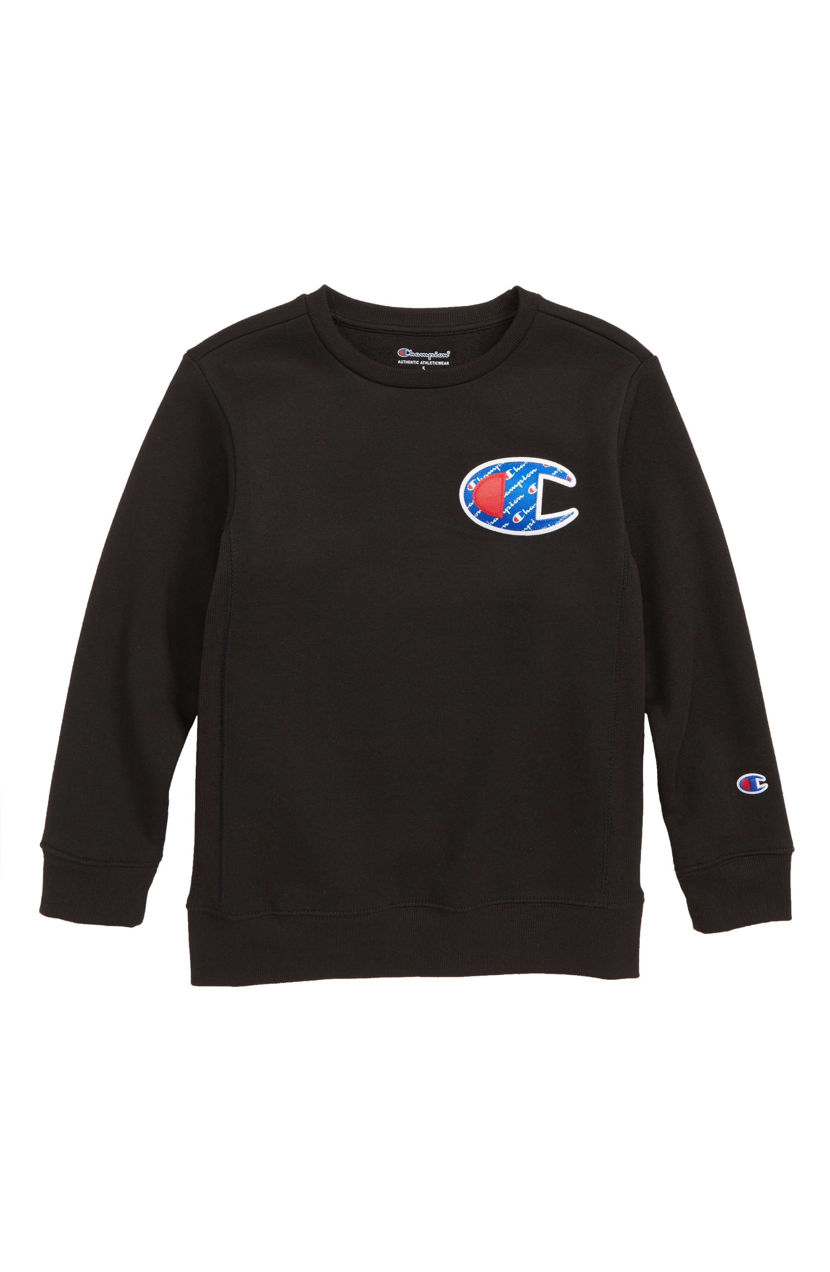 CHAMPION,                             Logo Patch Sweatshirt,                             Main thumbnail 1, color,                             BLACK