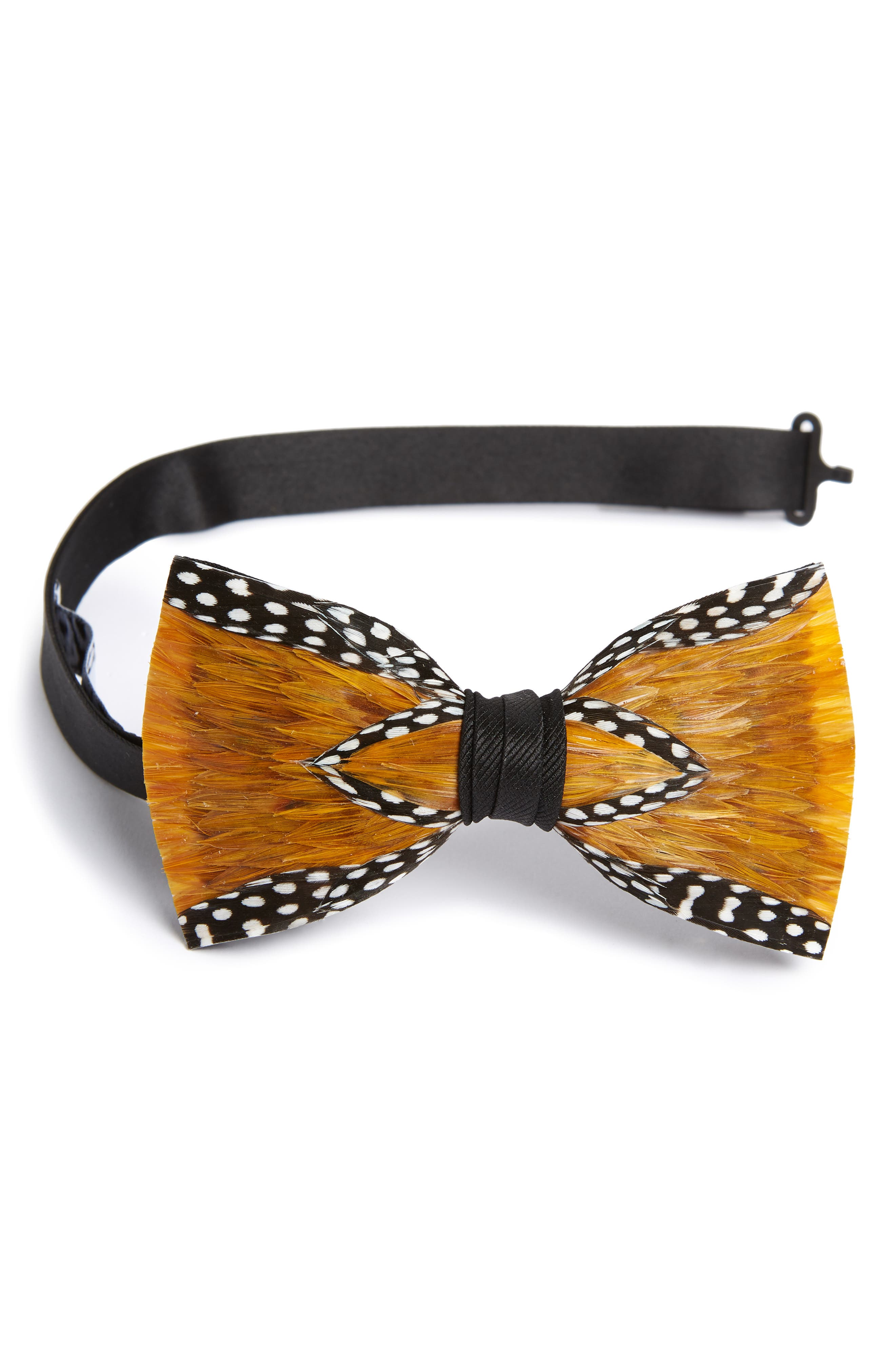 Woco Feather Bow Tie,                         Main,                         color, YELLOW