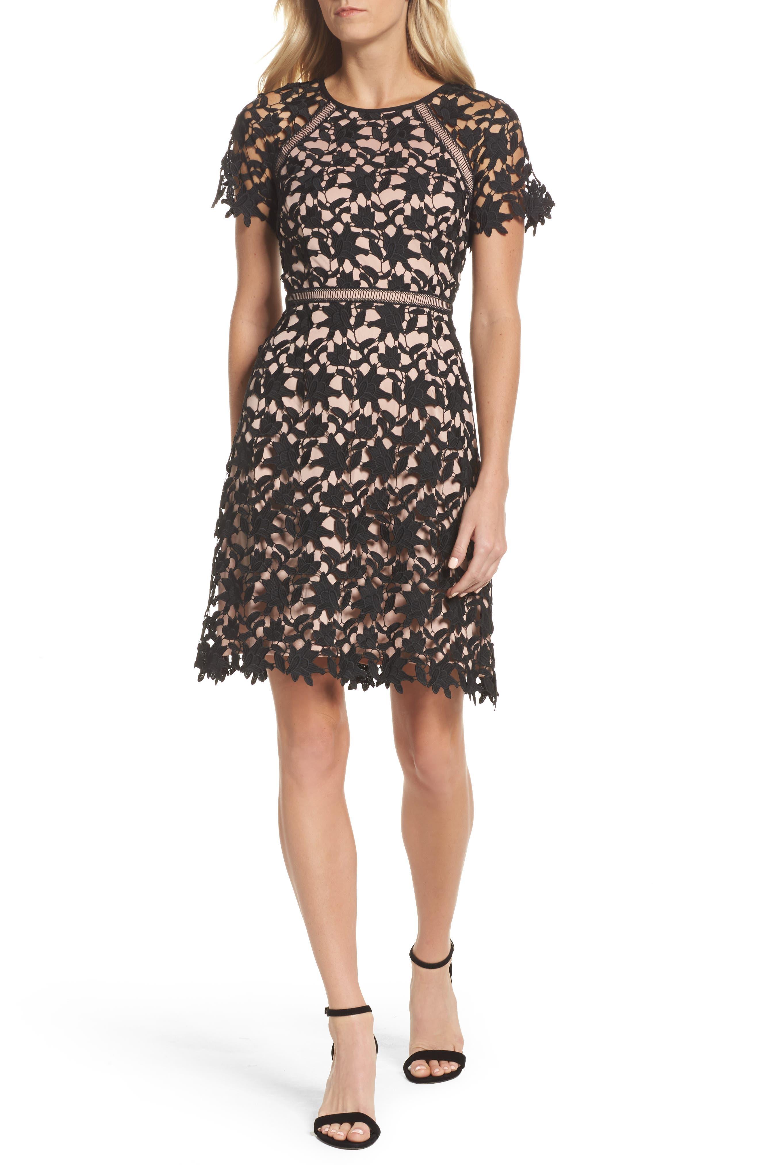 Ava Lace Sheath Dress,                             Main thumbnail 1, color,                             002