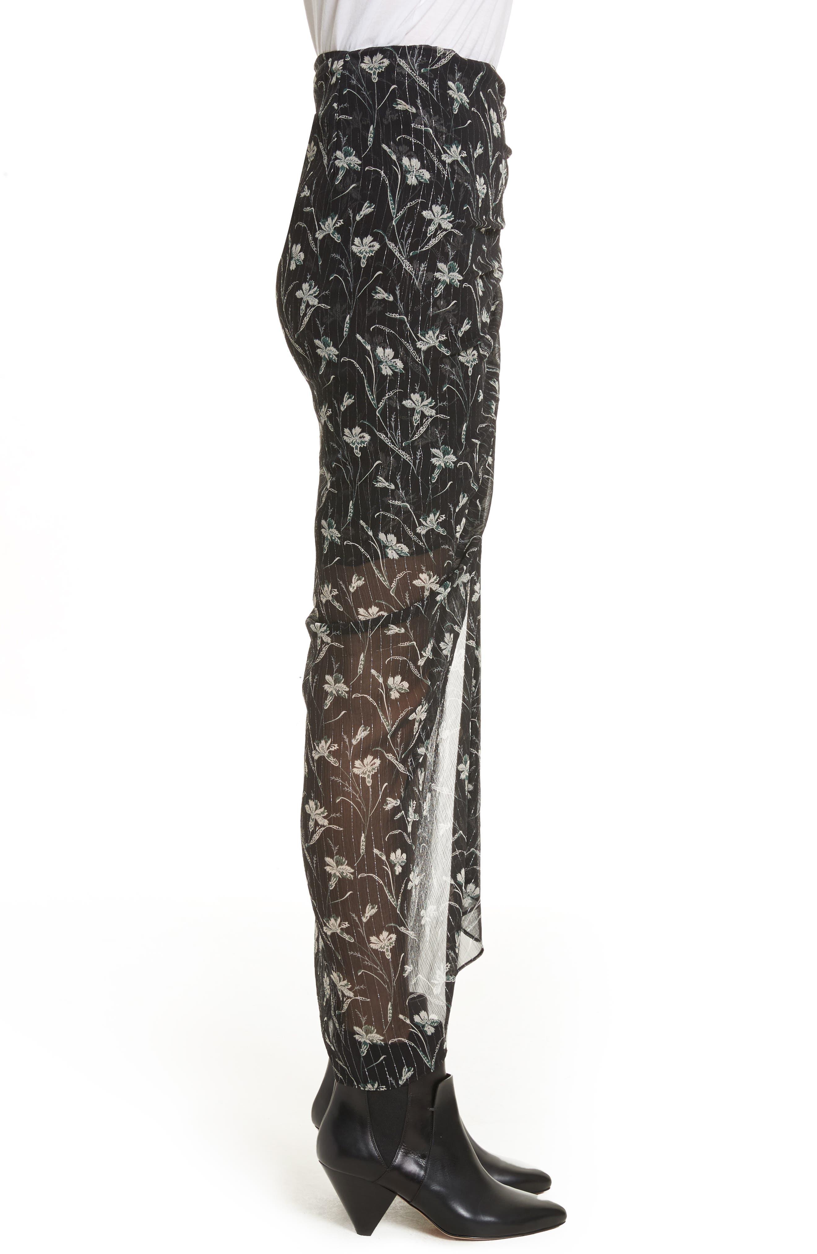 Mae Metallic Stripe Silk Midi Skirt,                             Alternate thumbnail 3, color,