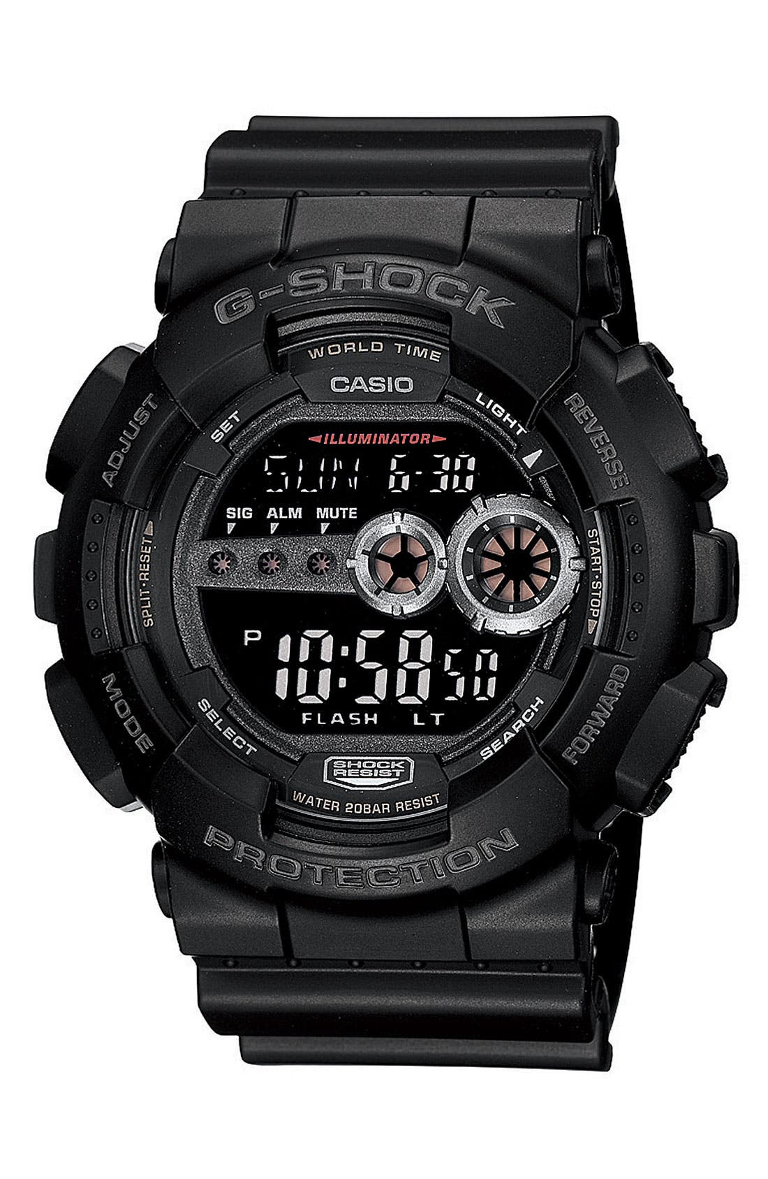 G-Shock 'Super Luminosity' Digital Watch, 48mm,                             Main thumbnail 1, color,                             BLACK