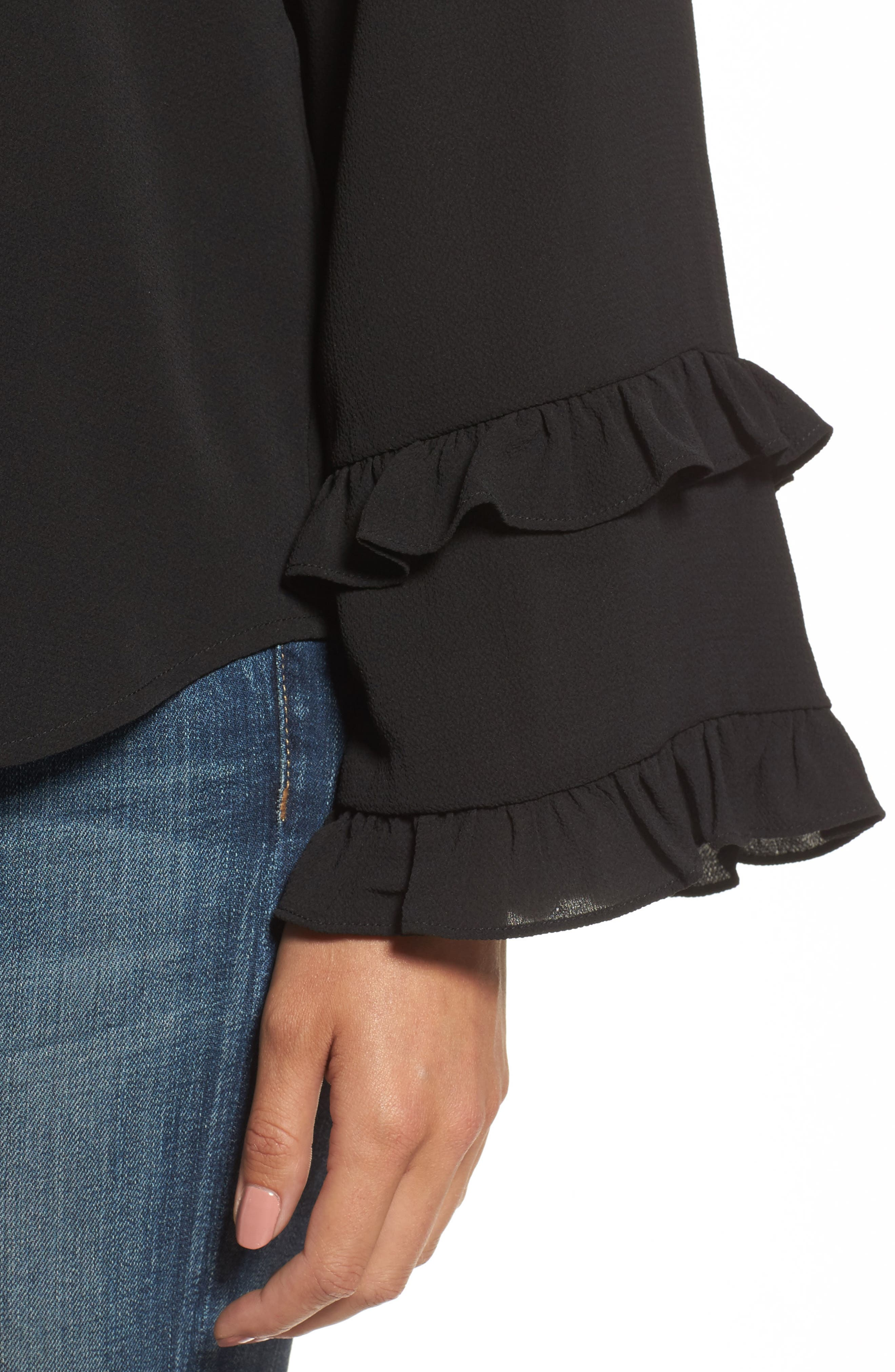 Ruffle Bell Sleeve Top,                             Alternate thumbnail 4, color,                             001